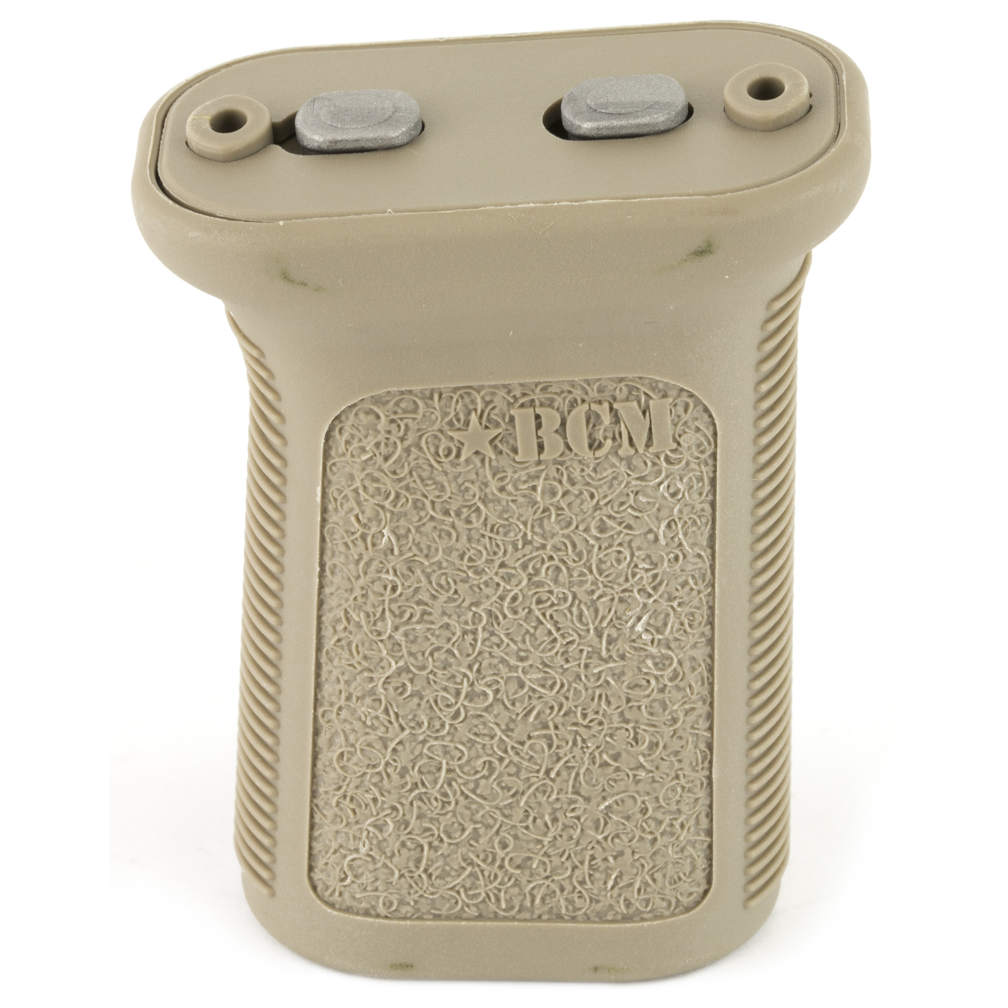 """Bravo Company's BCMGUNFIGHTER Vertical Grip Key-Mod-Mod-3 version has a low-profile length for increased mobility and decreased snag factor. The forward angle increases the rigidity of the forearm"""" while providing a more natural wrist angle. It can be mounted in reverse angle to increase control when grabbing handguard and grip and its flat sides with aggressive texture give better yaw control to the shooter during firing and non-firing manipulations."""