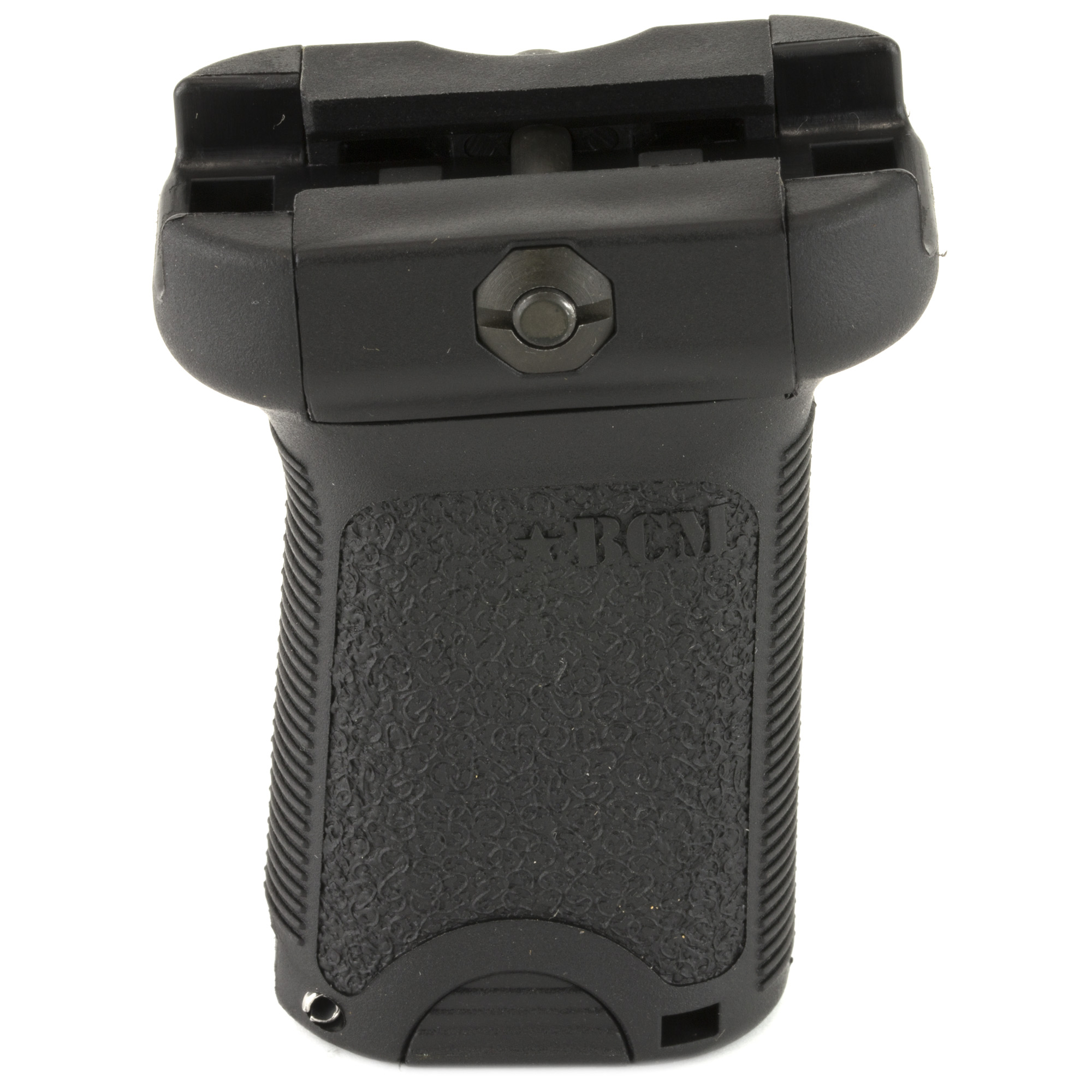 """Bravo Company's BCM Gunfighter's Vertical Grip (Short) has a low-profile length for increased mobility and decreases """"snag"""" factor. The forward angle increases the rigidity of the forearm while providing a more natural wrist angle. It can be mounted in reverse angle to increase your control when grabbing the handguard and grip. The flat sides give better yaw control to the shooter during firing and non-firing manipulations and its aggressive texture and storage volume combined with its modular design allow for improvements and adaptation in the future. It has a cross bolt design to work with improvised tools (such as a quarter) and to allow for easy adjustment or re-tightening. Reversible clamps allow the user to set up fasteners to reside on either side and spring-loaded clamps to make installation and removal easier. Manufactured from high quality"""" impact resistant polymers and made in the USA."""