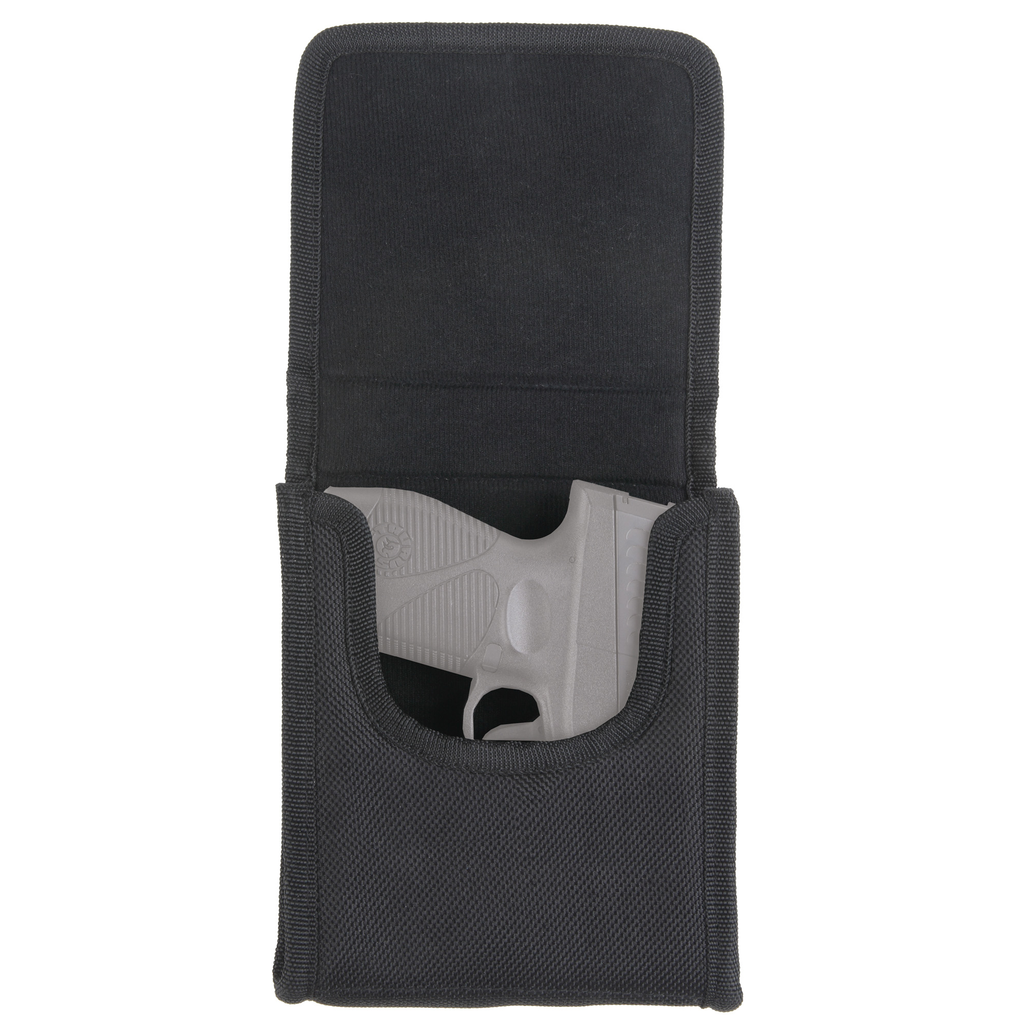 This vertical cell phone holster comes with belt loop and clip for easy carrying. It has magnetic latches for easy opening and closing and conceals the weapon 100%.
