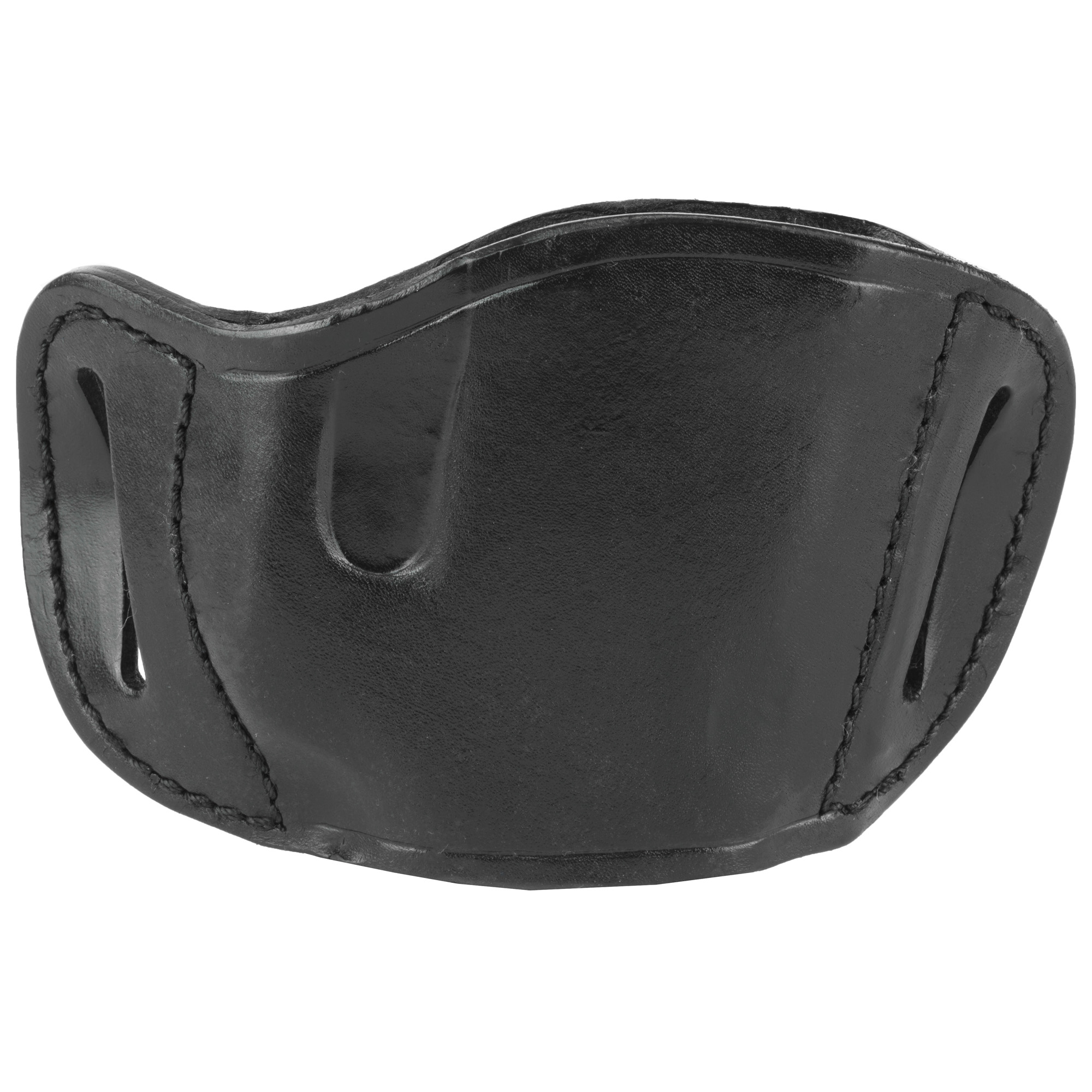 This molded leather belt slide holster of quality hand tooled and tanned leather provides a durable and attractive product.