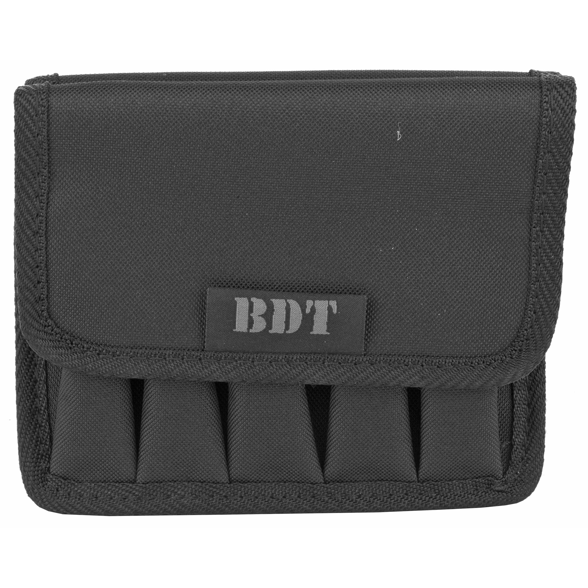 This pouch holds 5 high capacity pistol magazines or ten single stack magazines. It has a durable water resistant outer shell.