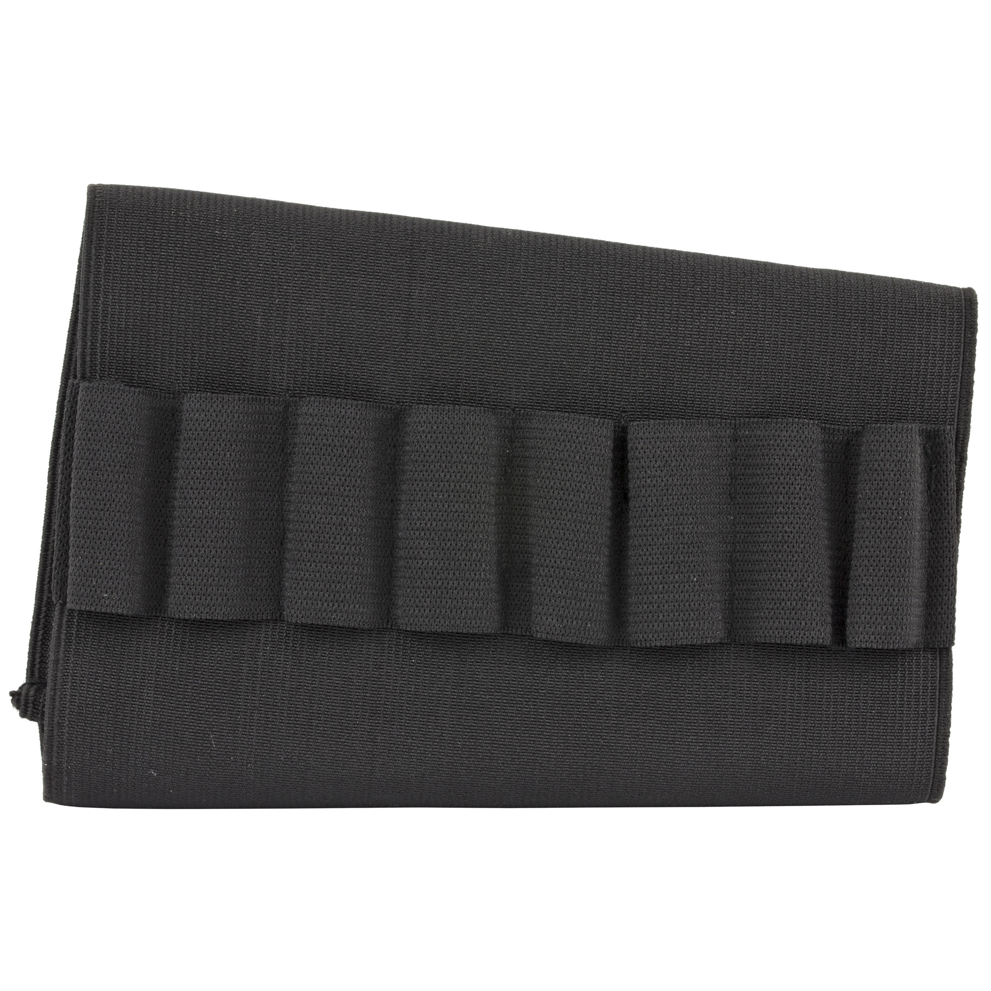Here is a great way to carry some extra ammo while in the field! Just slip this elastic carrier from Bulldog Cases over the stock of your rifle. Elastic loops hold eight rounds of ammo close at hand for immediate use without allowing rattles.