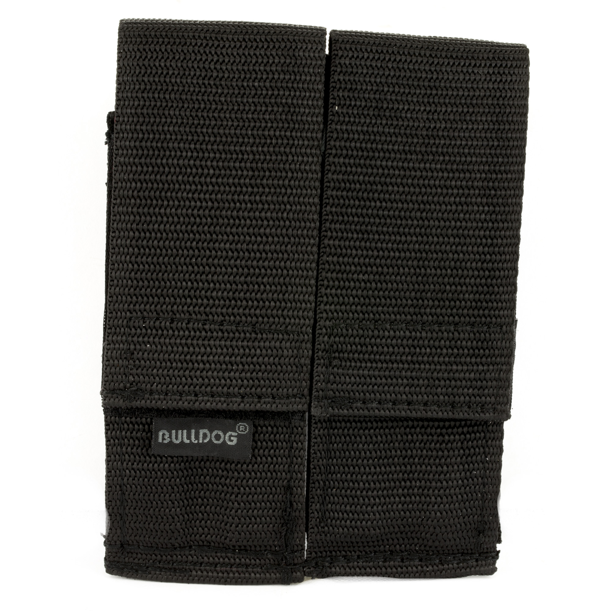 This nylon constructed double magazine holder attaches to your belt. Has a hook and loop closure.