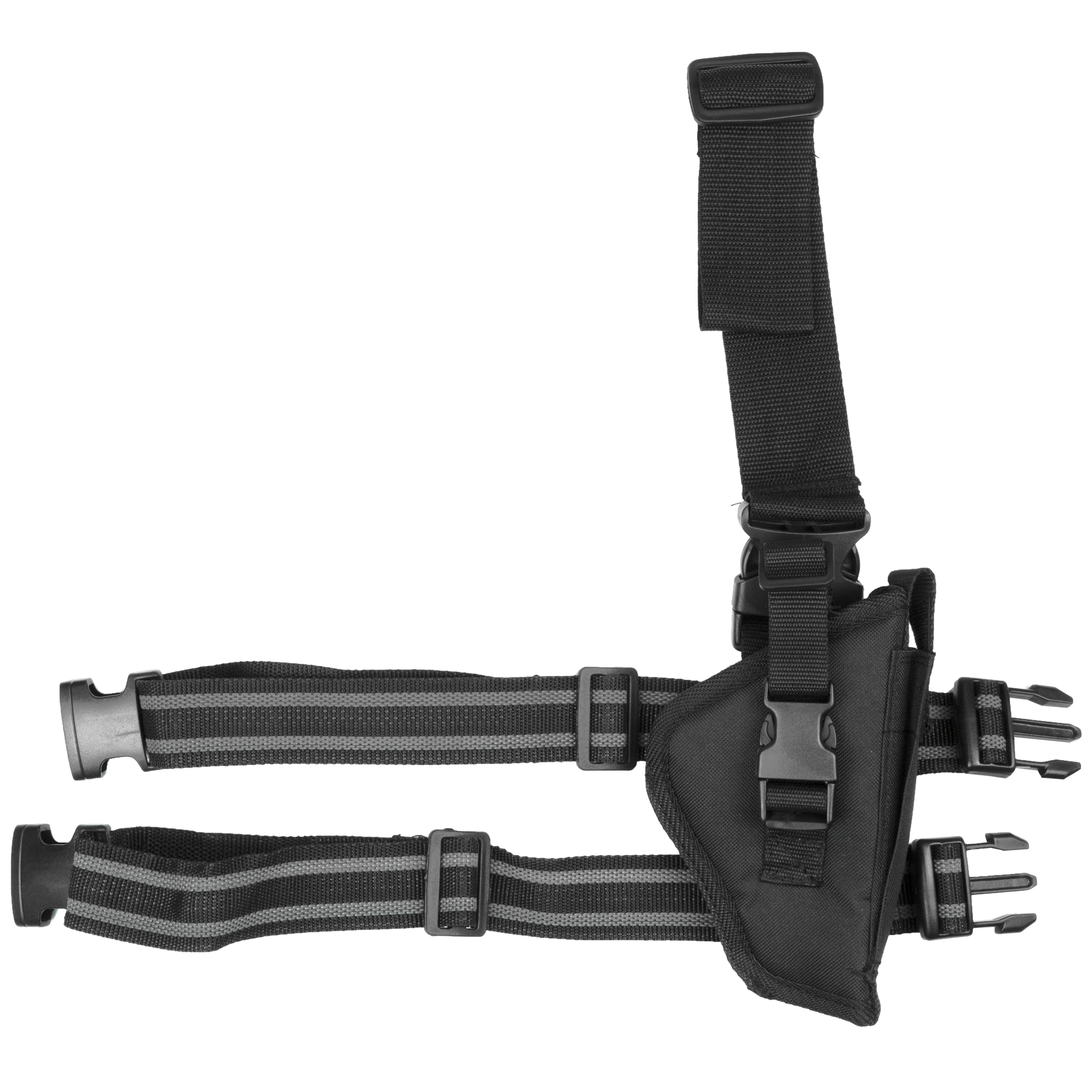 """Bulldog Cases offers one of the best leg holsters on the market. The double leg straps feature a non-slipping lining that ensures the holster stays in place"""" quick release buckles allow for quick removal and the straps have plastic slider buckles making them fully adjustable. The adjustable belt loop adds another security measure to the holster which features a thumb break and extra magazine pouch. This holster will fit medium and large framed 2""""-4"""" barrel semi-autos."""