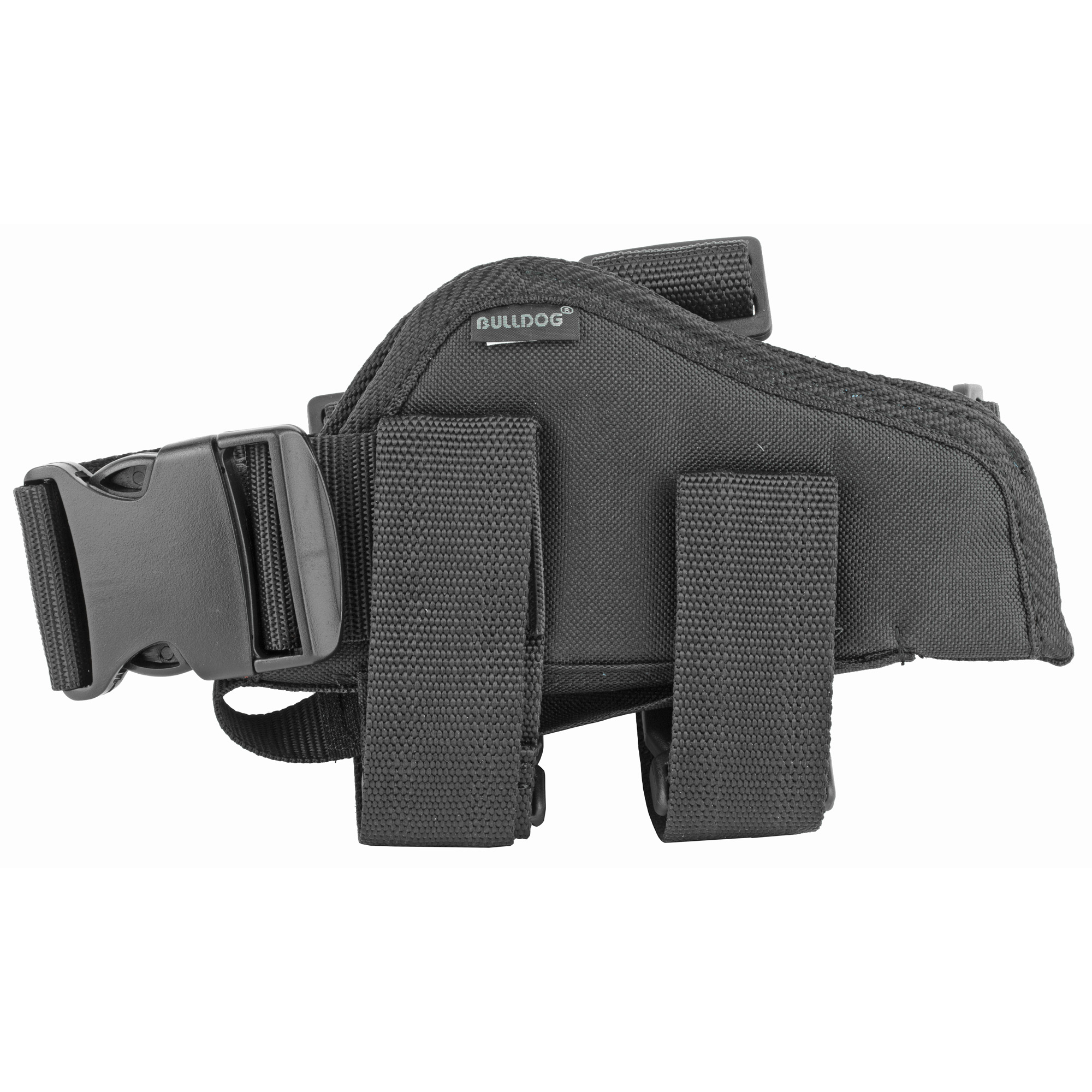 """Bulldog Cases offers one of the best leg holsters on the market. The double leg straps feature a non-slipping lining that ensures the holster stays in place"""" quick release buckles allow for quick removal and the straps have plastic slider buckles making them fully adjustable. The adjustable belt loop adds another security measure to the holster which features a thumb break and extra magazine pouch. This holster will fit large framed handguns with 3.5""""-5"""" barrels."""