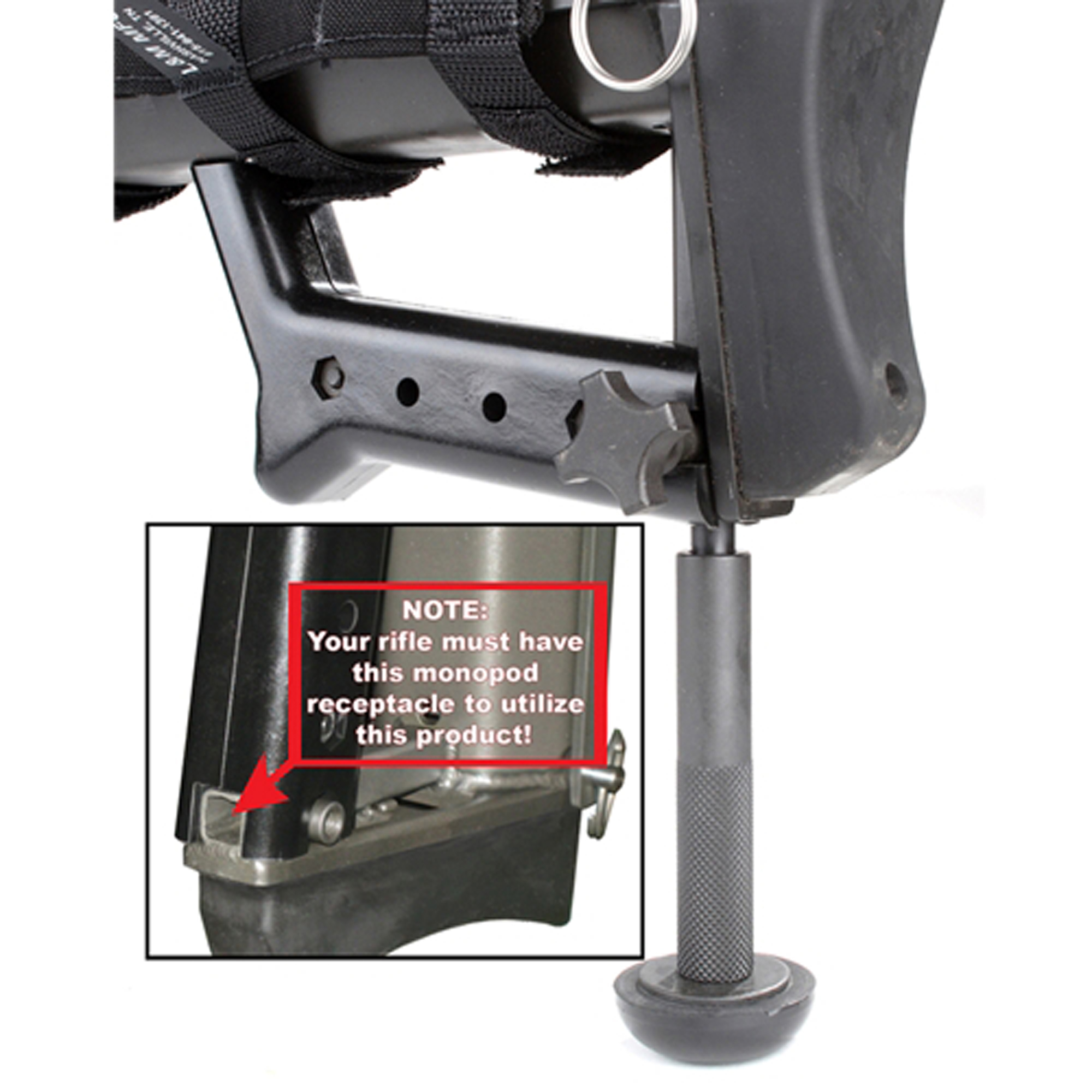 "Barrett's MONOPOD Complete Assembly Kit is for 50BMG 82A1"" 99 and 95 rifles. It is designed to be used with the integral monopod leg mounting receptacle. It comes with a monopod lock knob."