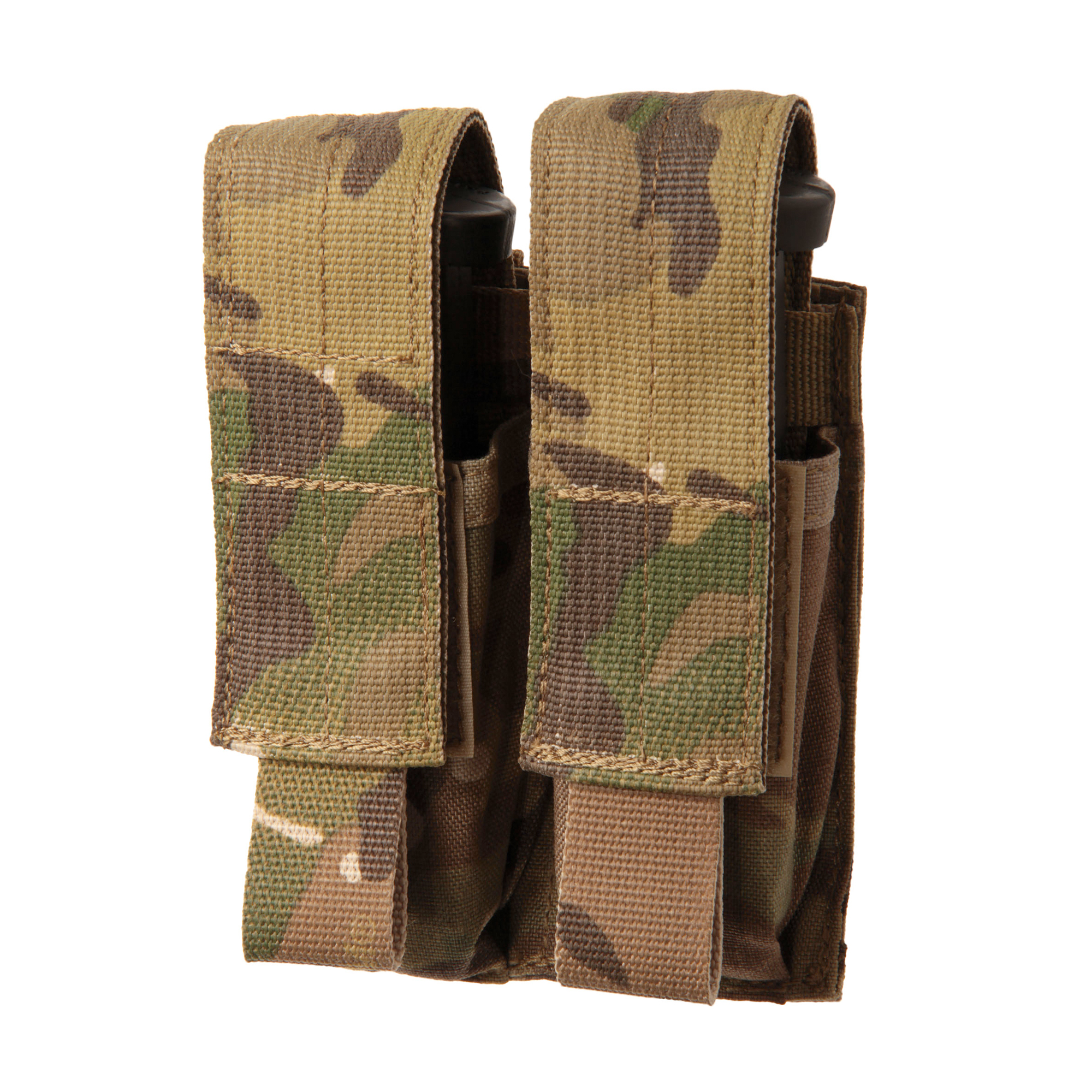 "Strike double pistol magazine pouch holds two pistol magazines. Hybrid design allows for Speed Clip mounting to vest or other MOLLE compatible platform as well as belt mounting up to 2.5"" using A.L.I.C.E. clips (A.L.I.C.E. clips not included)"