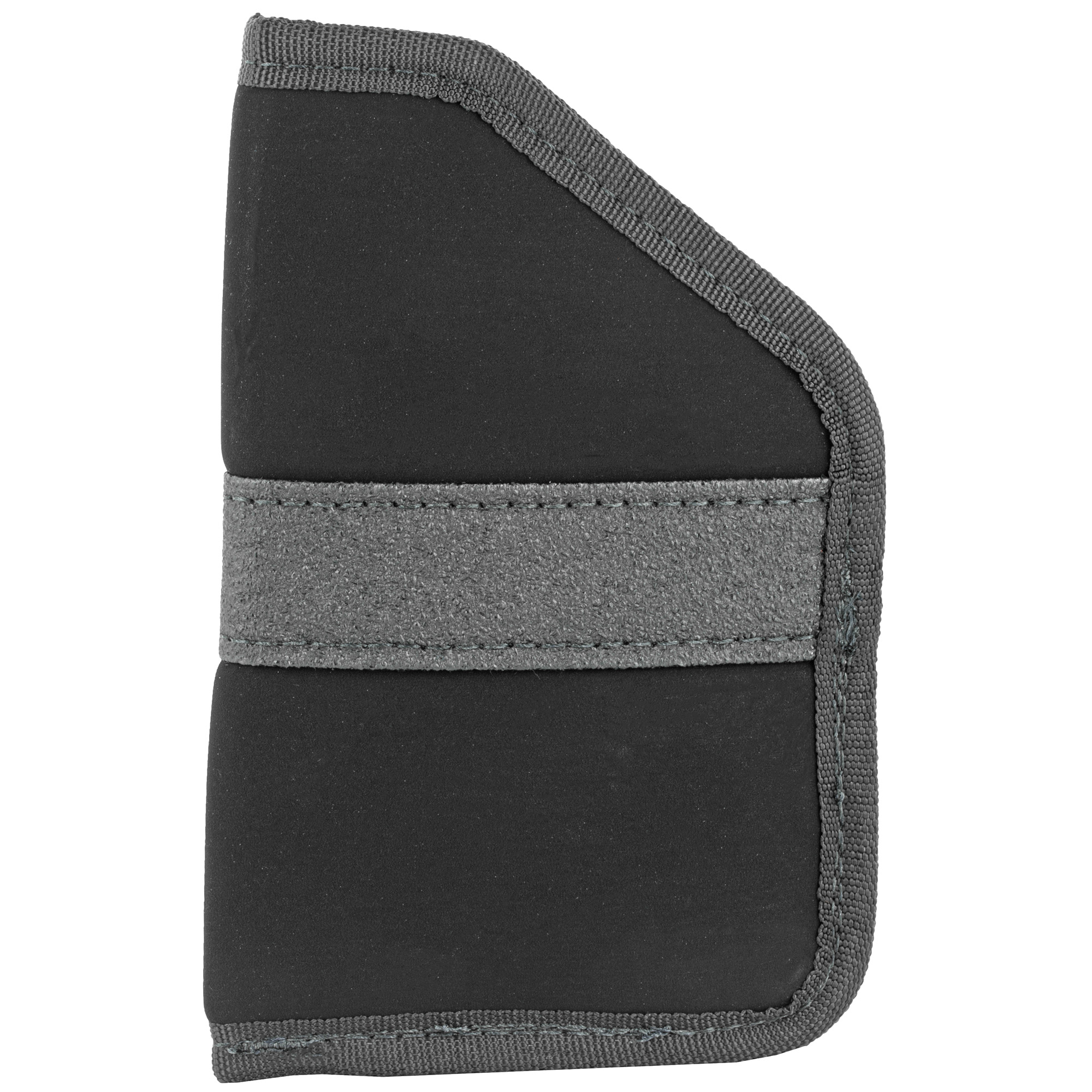 The low-profile laminate construction of this inside the pocket holster protects wearer's skin from weapon's sharp edges and provides a moisture barrier. The open-top holster provides grip-up positioning and protects weapon in pocket and the non-slip band keeps holster in pocket when firearm is drawn.