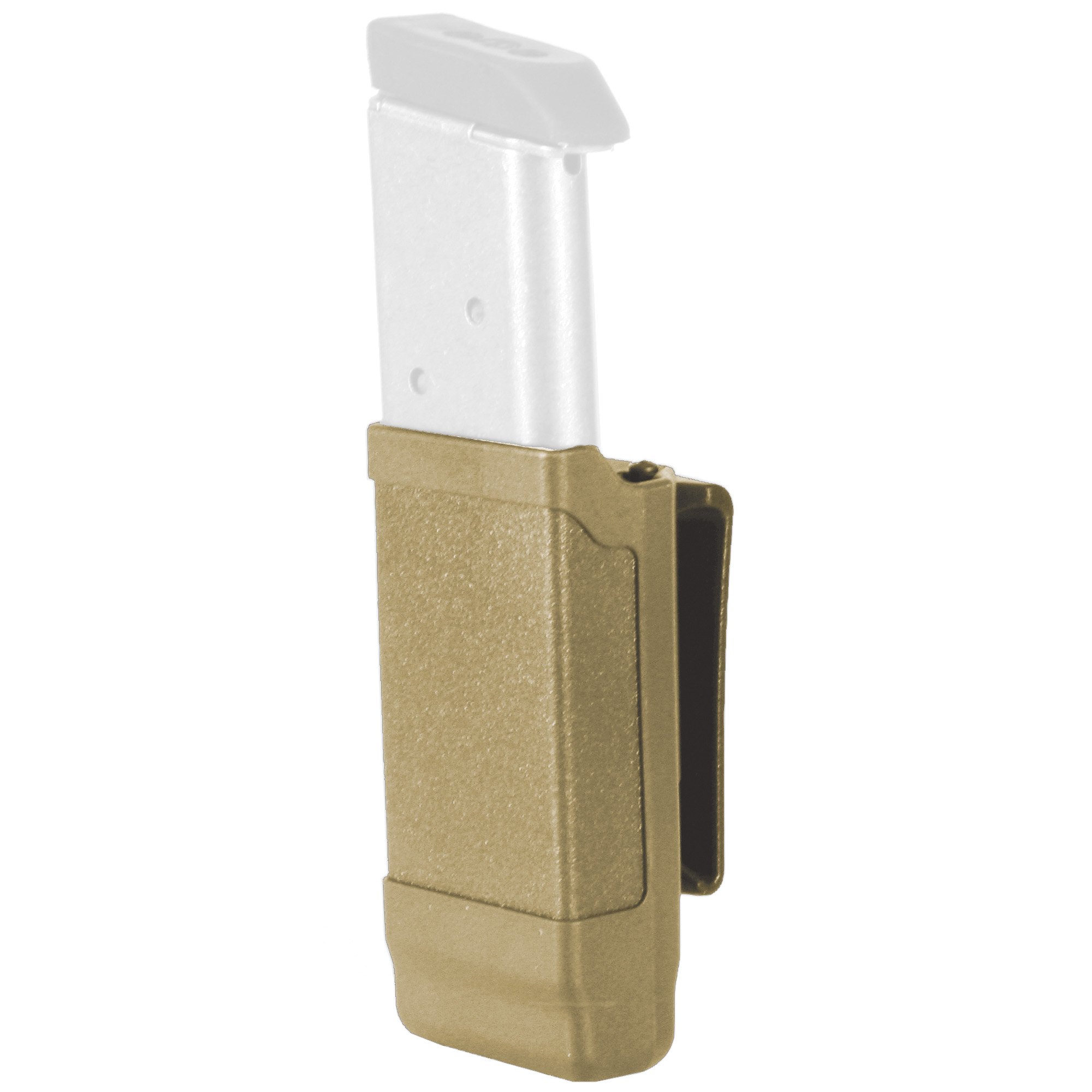 "Their Single Mag Cases feature a built-in tension spring to securely hold magazines of various sizes. For two magazines on the same carrier"" you can remove the belt clip and place two Single Mag Cases side-by-side on Their Dual Rail Accessory Platform (sold separately). The case can also be placed next to one of their light carriers for a combo light/mag carrier."
