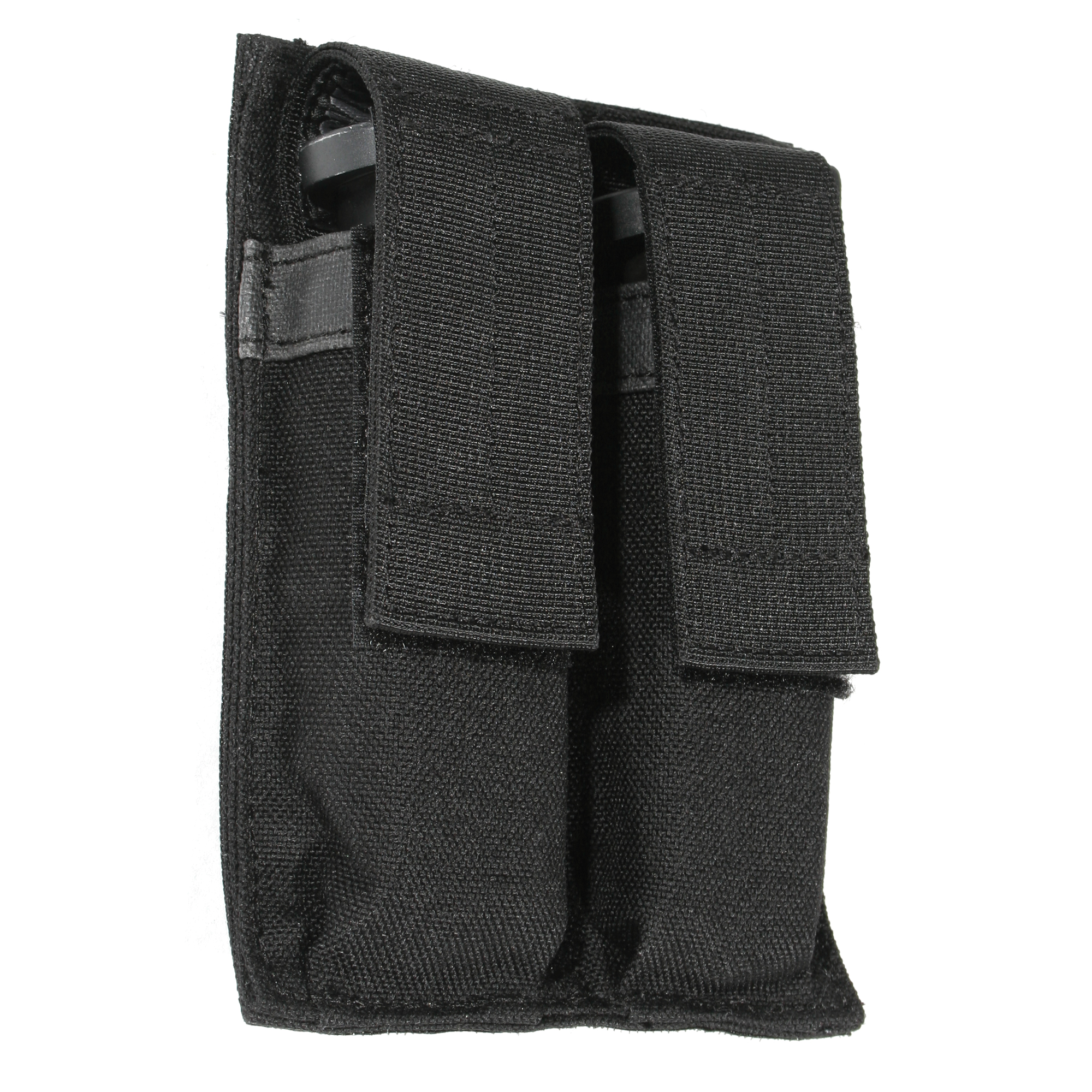 This Double Pistol Mag Pouch has a hook and loop attachment for quickly adding or removing the pouch.