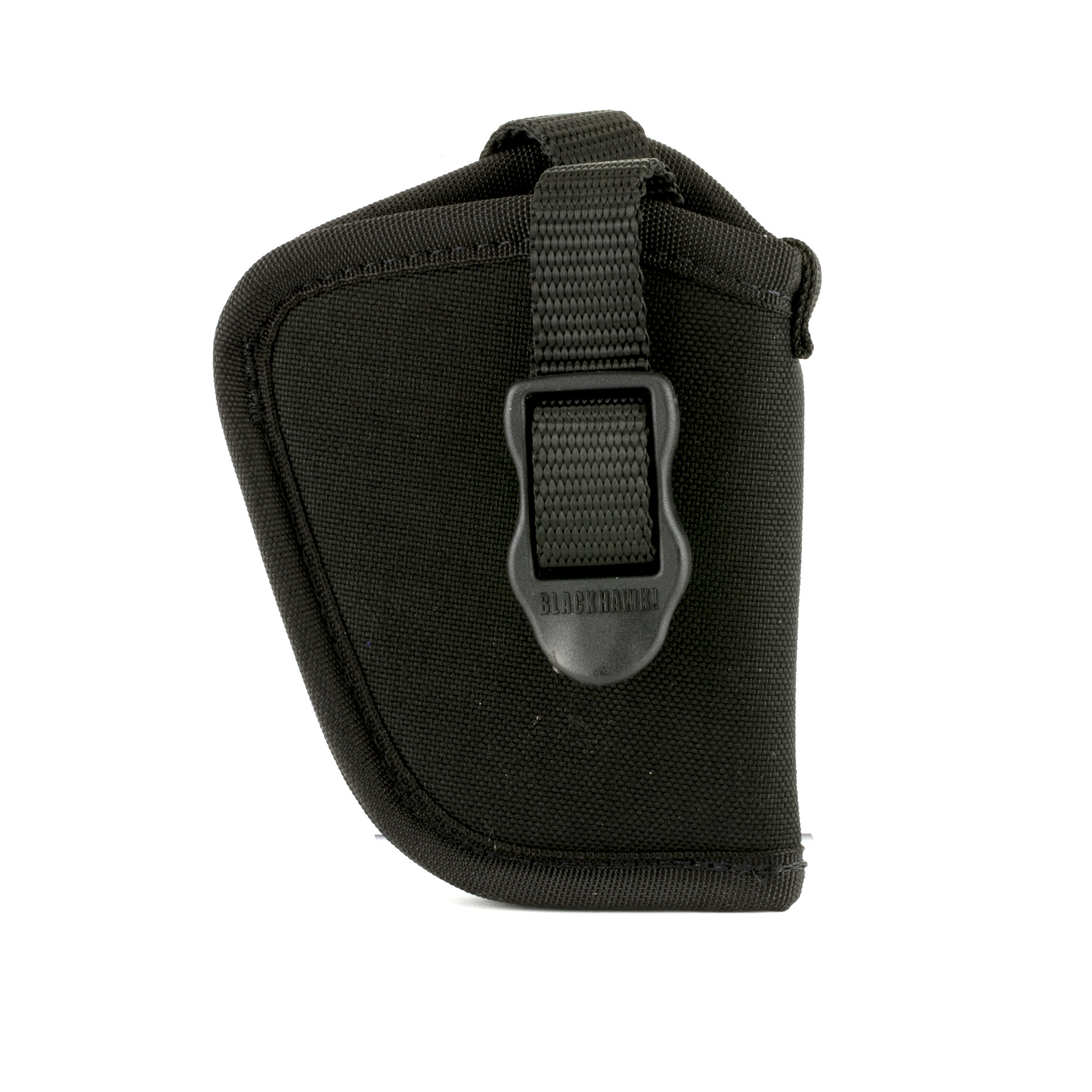 """BLACKHAWK's classic"""" medium high ride design allows you to carry your favorite revolver or auto on any belt up to 2"""" wide. The BLACKHAWK Hip Holster is made of 1000 denier nylon"""" closed-cell foam padding and smooth nylon lining with a tough nylon web retention strap that has a combination adjustment buckle and sturdy snap for an easy draw. The holster features a nylon web sight channel and the extra strength injection molded belt loop accepts belts up to 2""""."""