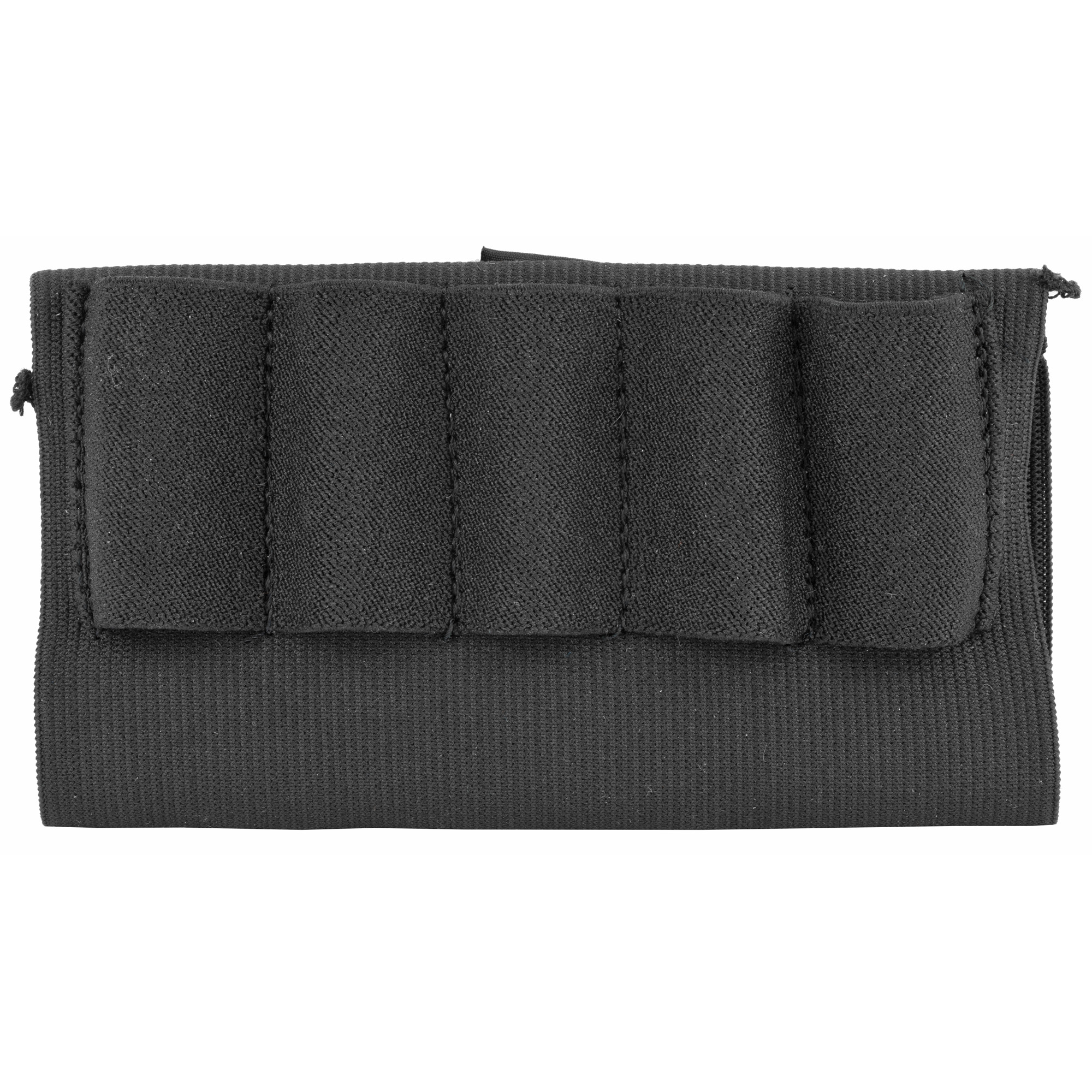 The open style buttstock shell holder slips over most shotgun stocks for quick ammo access. The elastic sleeve has 5 sewn on elastic ammo loops to hold 5 shot shells.