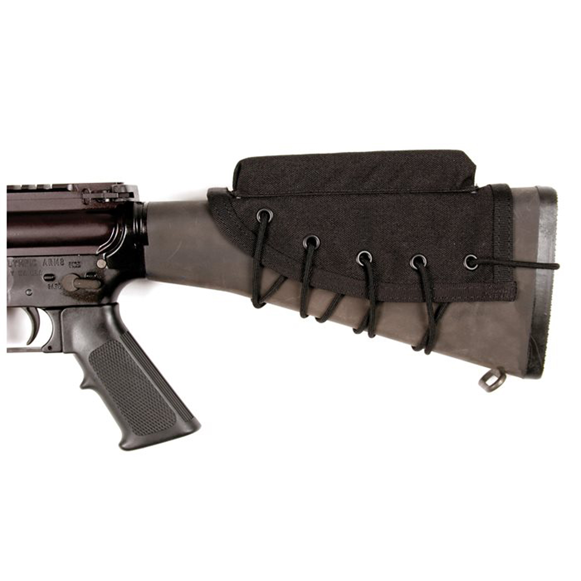 """Blackhawks Rifle Cheek Pad aids eye relief efficiency"""" prevents slipping and reduces recoil to the neck and cheek. It is constructed of 1000 denier nylon and closed-cell foam and has an adjustable tie-down system fits all rifle stocks."""