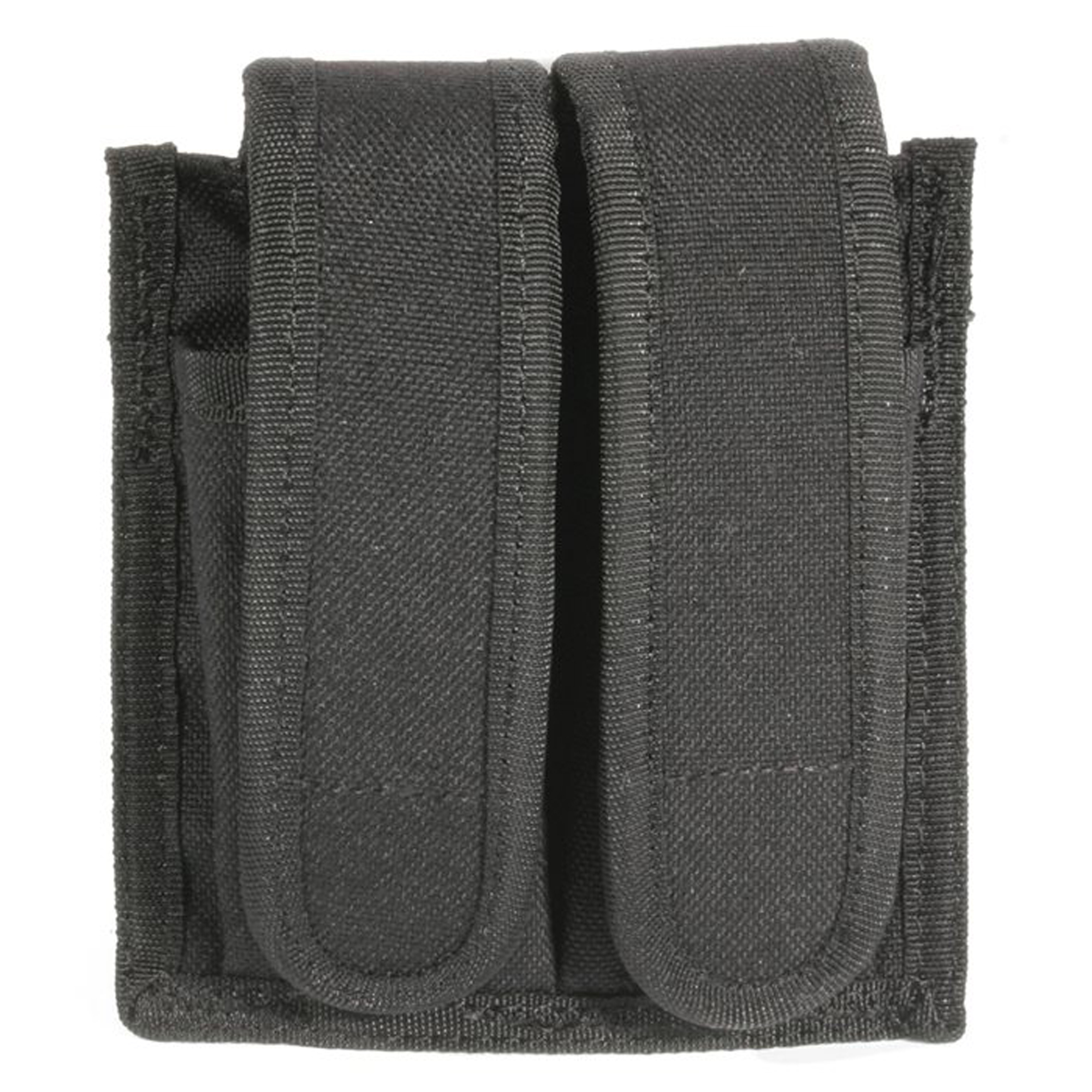 "The Sportster Universal Double Magazine case accommodates most pistol magazines and folding knives. It is constructed of durable 600 denier polyester and fits belts up to 2.25"" wide."