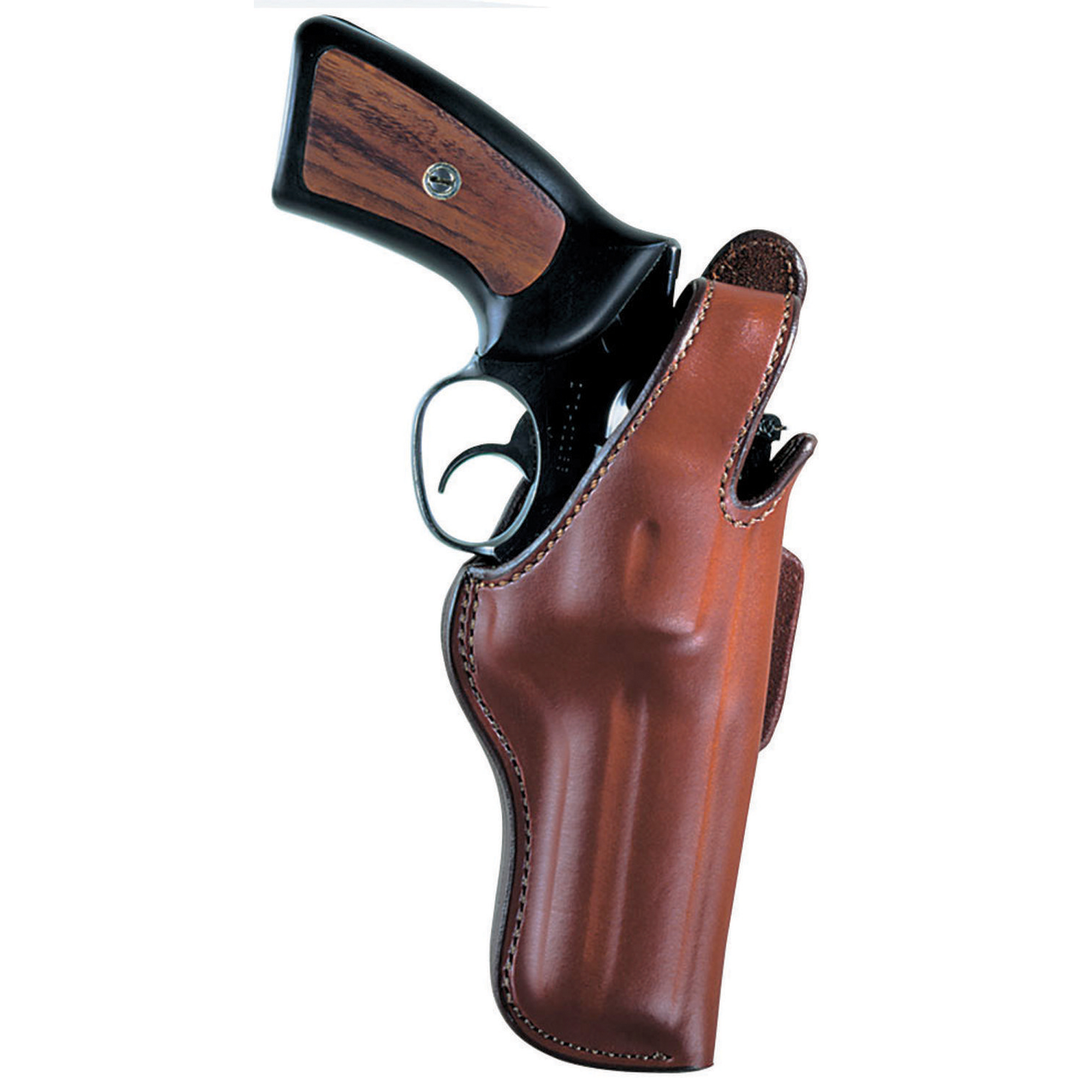 Bianchi's Thumbsnap holster is a classic that is ideal for field and casual concealment of most revolvers. A steel reinforced thumb snap provides retention while the leading edge design protects the adjustable rear sight found on many revolvers.