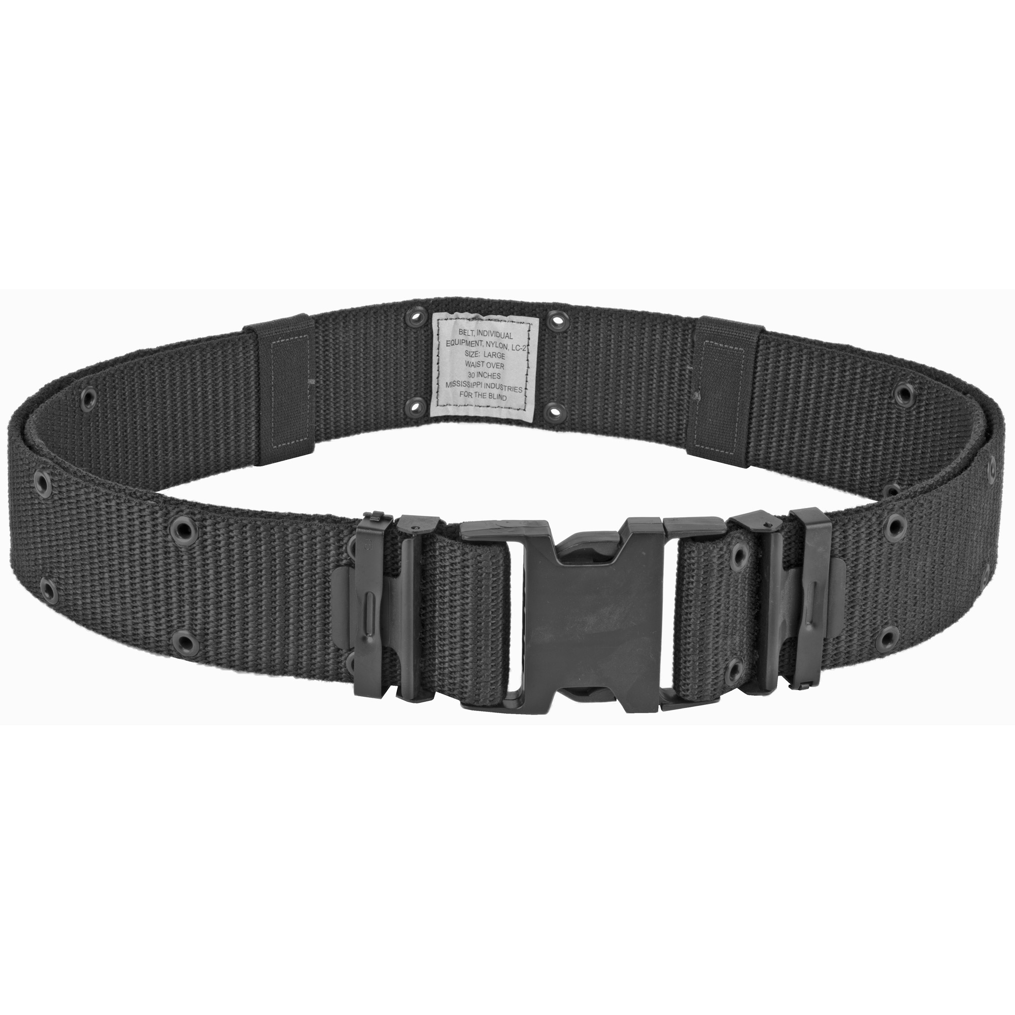 """The Bianchi M1020 is a mil-spec web pistol belt with official military shatter-resistant plastic buckle. It features dual grommeted holes running the length of the belt for adjustability. Metal belt keepers and 2.25"""" (58 mm) belt width. Offered in one-size that fits 30"""" - 48"""""""