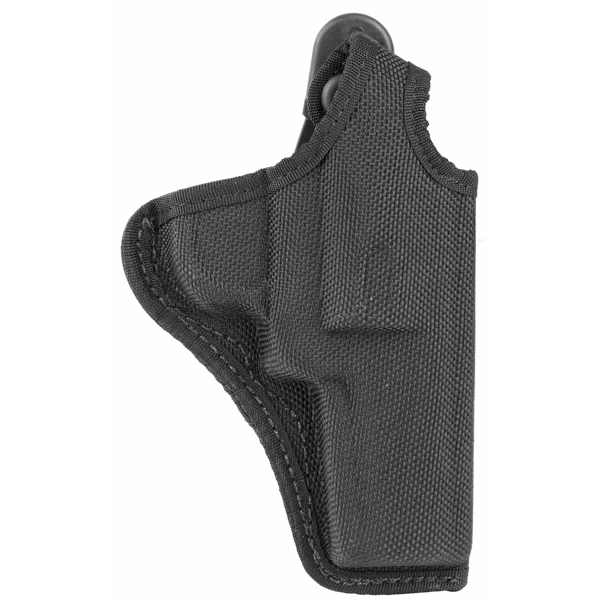 """This thumbsnap holster is suitable for outdoor and concealment applications. Its trilaminate construction of a closed-cell foam center"""" poly-knit inner lining and ballistic weave finish offers sturdy protection for the handgun. The holster rides at a 10-13 degree forward angle and the thumb break strap wraps cleanly over hammer. The belt slides through the Quick-Slide 1.75 in. (45 mm) belt loop."""