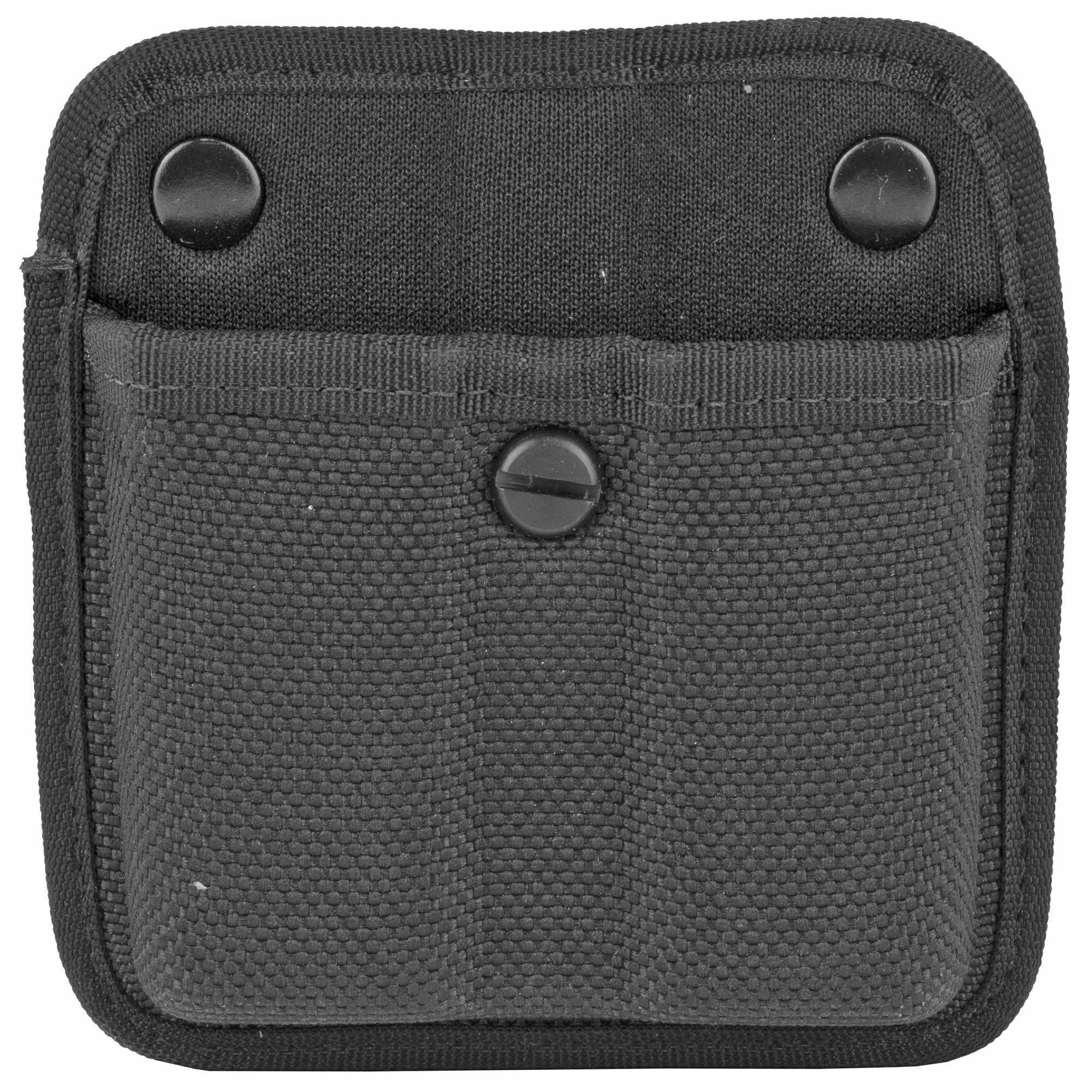 The Model 7320 AccuMold Triple Threat II Double Magazine Pouch is an open top design and features an injection molded belt loop for vertical or horizontal carry. Made with trilaminate construction with Coptex knit lining and fits 2.25 in. (58 mm) duty belts. Features an adjustable tension screw.
