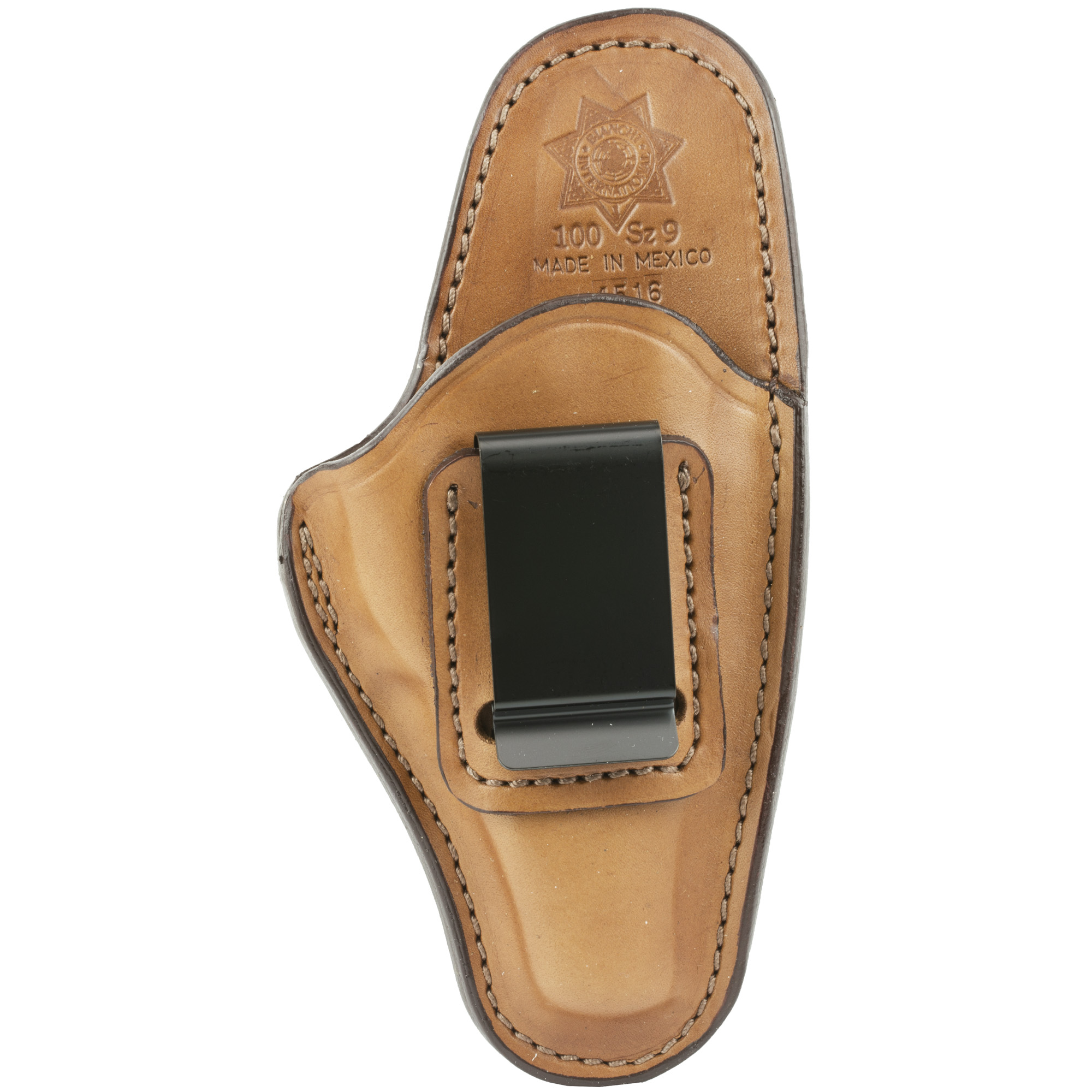 This leather inside the waistband holster meets the requirements for deep concealment applications. The design features a high back that provides a shield between the body and the sharp edges pf the pistol for comfort and to protect clothing. It is designed to ride at the optimum angle inside the waistband to allow for a proper firing grip. The belt clip provides easy on/off convenience and securely anchors the holster to the belt.