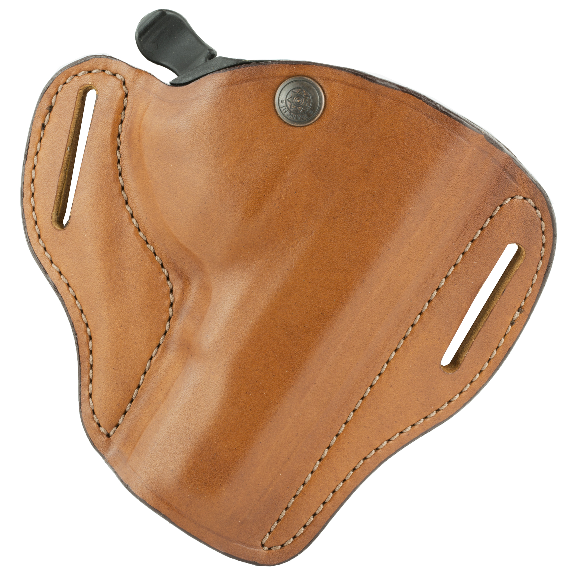 """The 82 offers the speed of an open top holster with the security of Auto Retention"""" using the FingerLok retention mechanism that secures the pistol by the trigger guard when holstered. To draw"""" the middle finger sweeps the release lever allowing the pistol to be drawn in a straight out movement. Full grain cowhide with dual belt slots to keep close to the body. Fits belts up to 1.75 in. (45 mm) in width."""