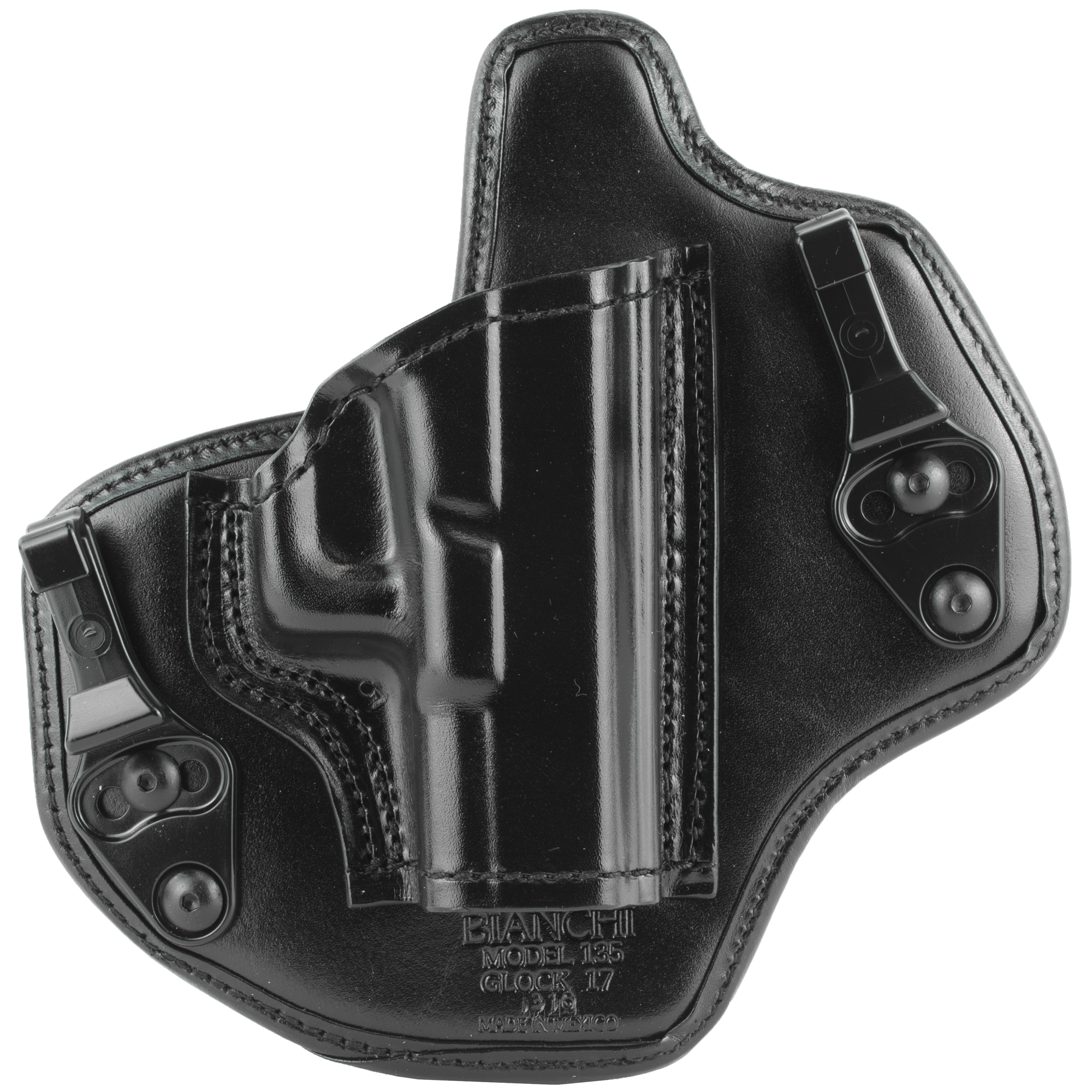 """The Bianchi Allusion Model 135 Suppression(TM) is a dedicated Inside the Waistband holster formed with premium high grade full grain leather"""" wrapped and laminated around a thermal-molded synthetic core. Matched with this holster is a body facing wrap-around formed with full-grain leather and outwardly lined with foam and anti-microbial mesh"""" making for comfortable longtime wear and odor-killing ability. This holster attaches to the belt with tuckable dual C-Clips"""" minimizing its footprint."""