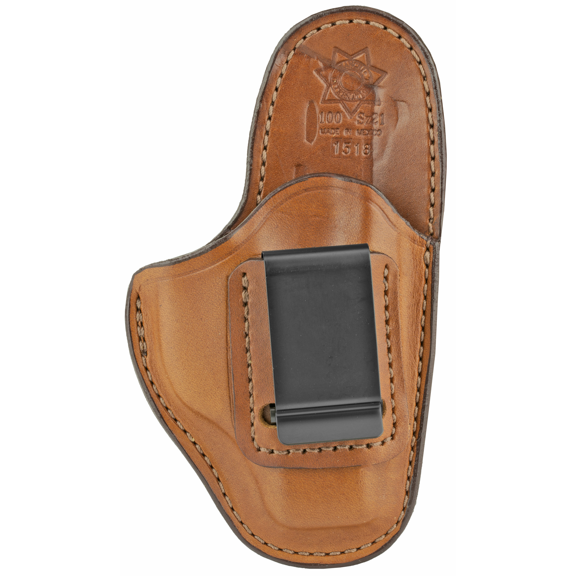 This leather inside the waistband design features a high back that provides a shield between the body and the sharp edges of the pistol for comfort and to protect clothing. It is designed to ride at the optimum angle inside the waistband to allow for a proper firing grip. A belt clip securely anchors the holster to the belt.
