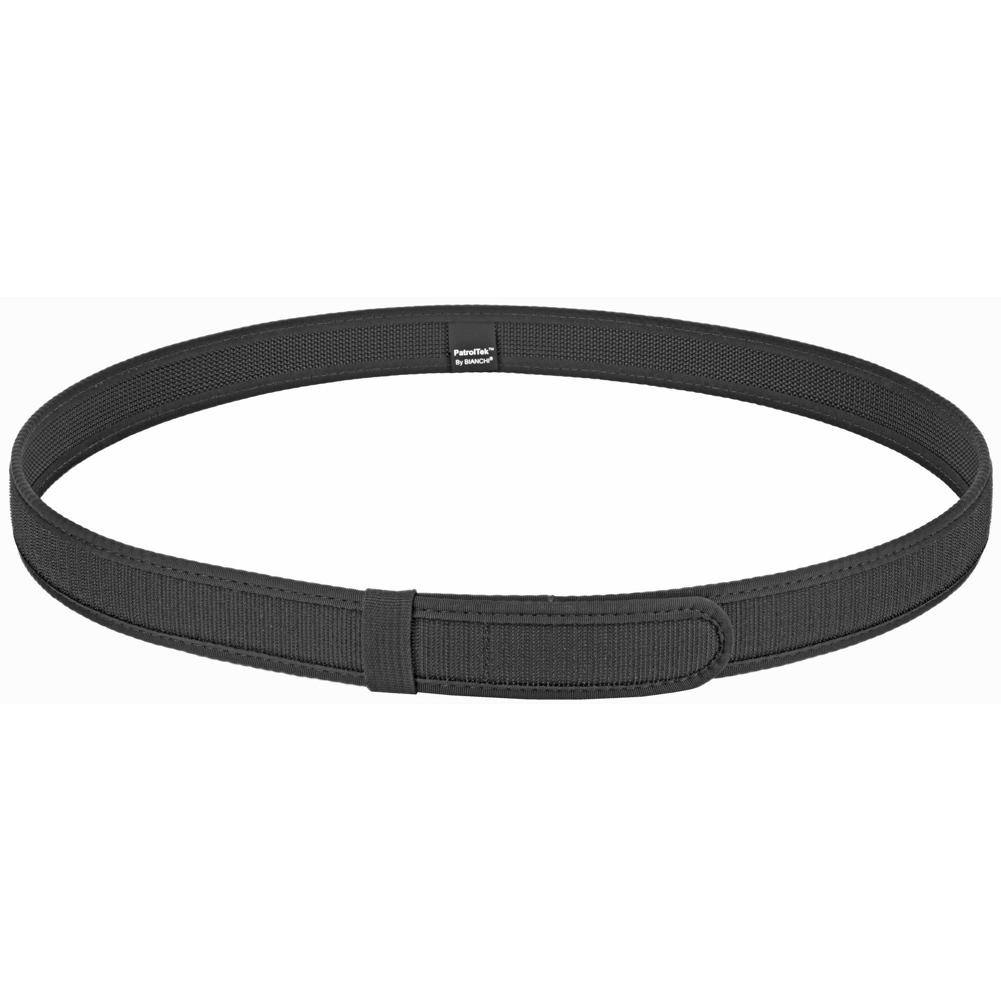 This PatrolTek(TM) Liner Belt has a hook exterior for use with duty belts. It features durable web construction and edge binding for long lasting wear and good looks. It has a hook and loop closure for quick on/of ease.