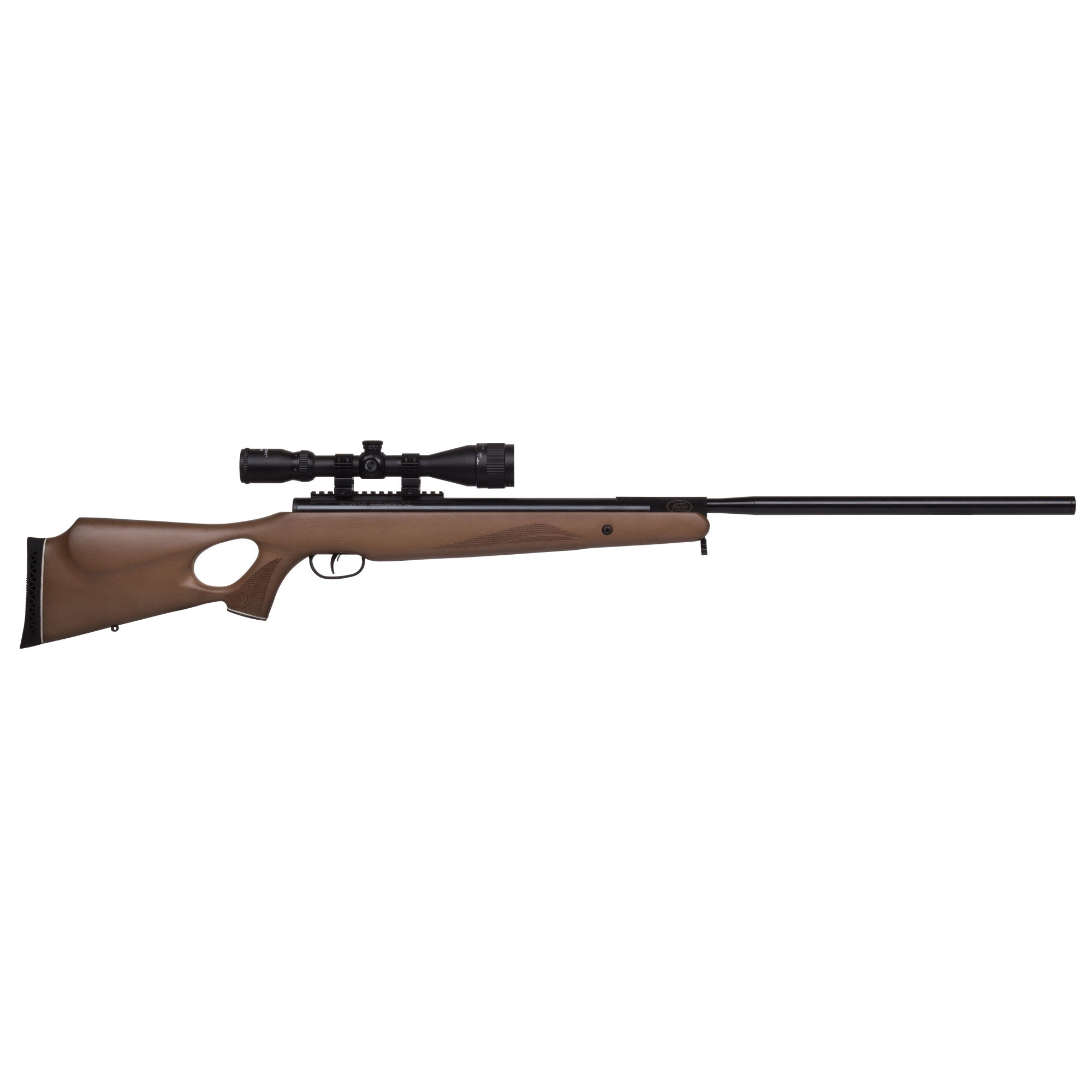 """The XL1500 features a handsome"""" checkered"""" hardwood stock. With its daunting 25 ft-lbs of muzzle energy"""" and shot velocities of up to 1500 fps"""" small game - it's game over. Benjamin Nitro Piston powered break barrels produce 70% less noise than spring powered airguns"""" and with a smooth cocking effort"""" less recoil and less noise"""" a successful day of hunting is within reach. One simple cocking motion and your follow-up shots are fast"""" quiet and easy. Each Benjamin Trail NP break barrel comes with a 3-9x40 mm CenterPoint precision scope"""" featuring an adjustable objective and range estimating reticle. Trail NP air rifles feature a bull barrel"""" picatinny mounting rail system"""" installed sling mounts and a ventilated rubber recoil pad."""