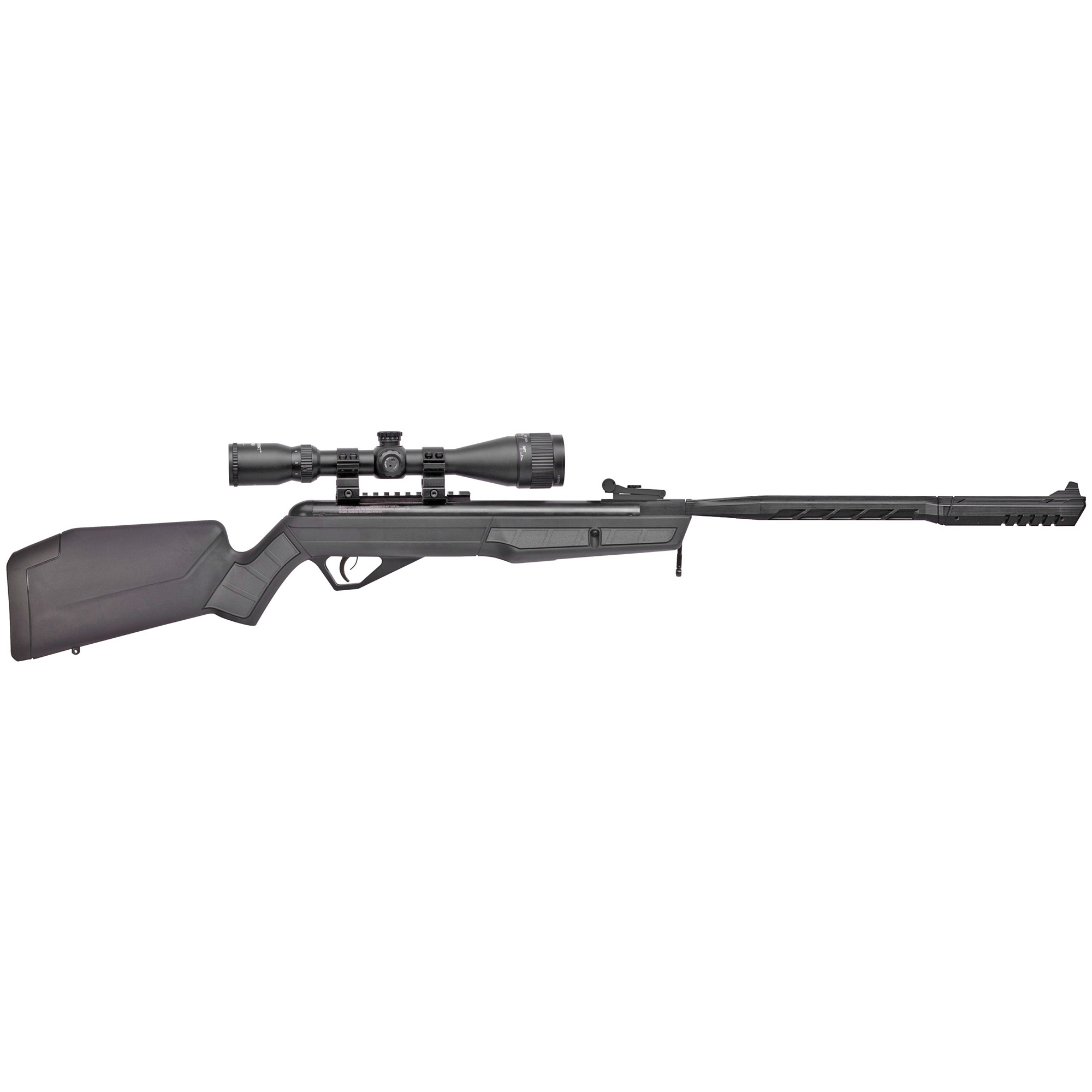 This Air Rifle has an Ergonomic stock with soft touch inserts and a rubber recoil pad. It features an adjustable rear/fixed front sight and Two-stage Clean Break Trigger(TM).