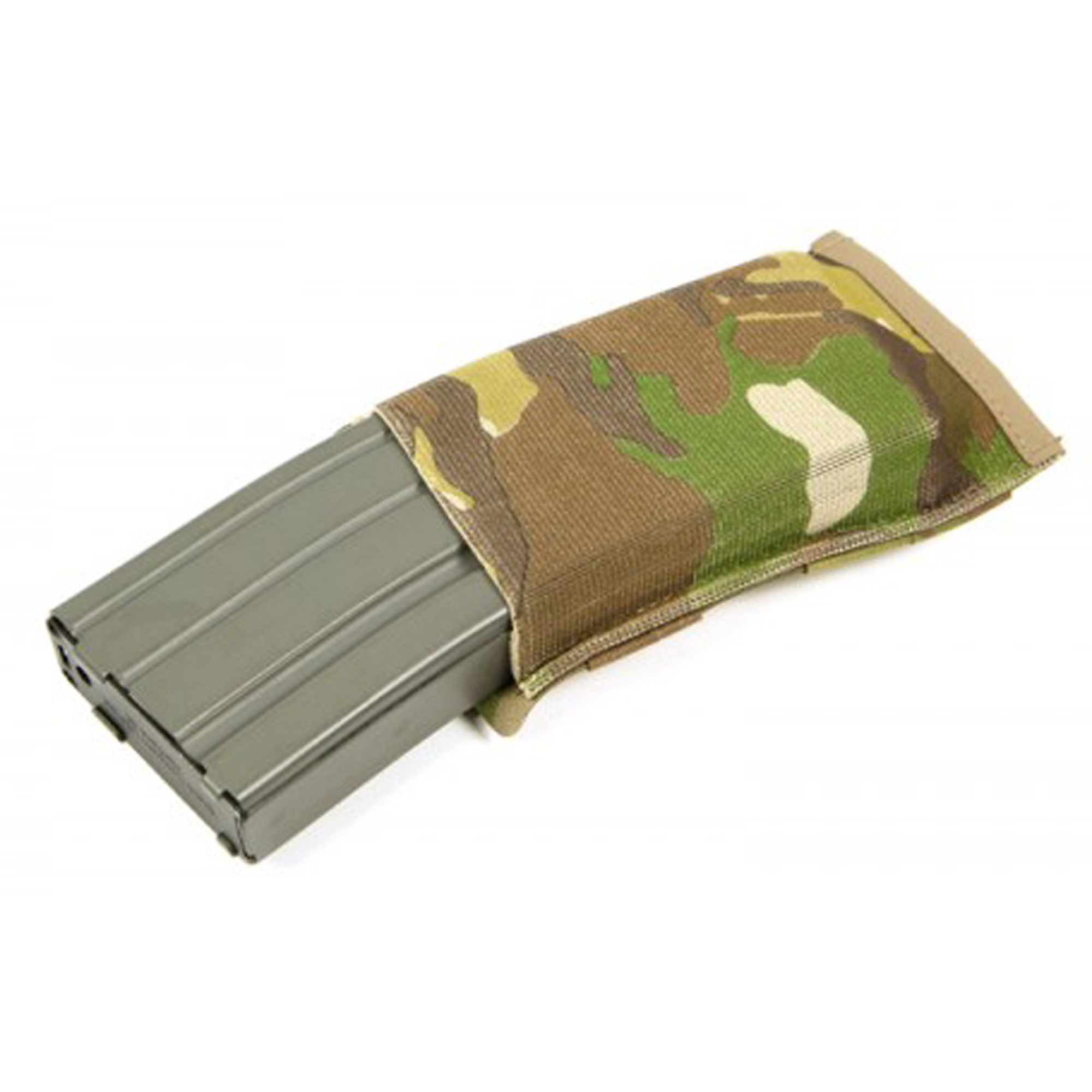 """The Ten-Speed Single M4 Mag Pouch holds one M4 magazine and is the perfect blend of speed and security. Ten-Speed(R) pouches use military grade elastic combined with ULTRAcomp to create a multiuse pouch that is weighs almost nothing and lays flat when not in use. The Single M4 Mag Pouch holds one M4 magazine (polymer or metal)"""" medical supplies"""" bandages"""" flash bangs"""" or other similar sized items."""