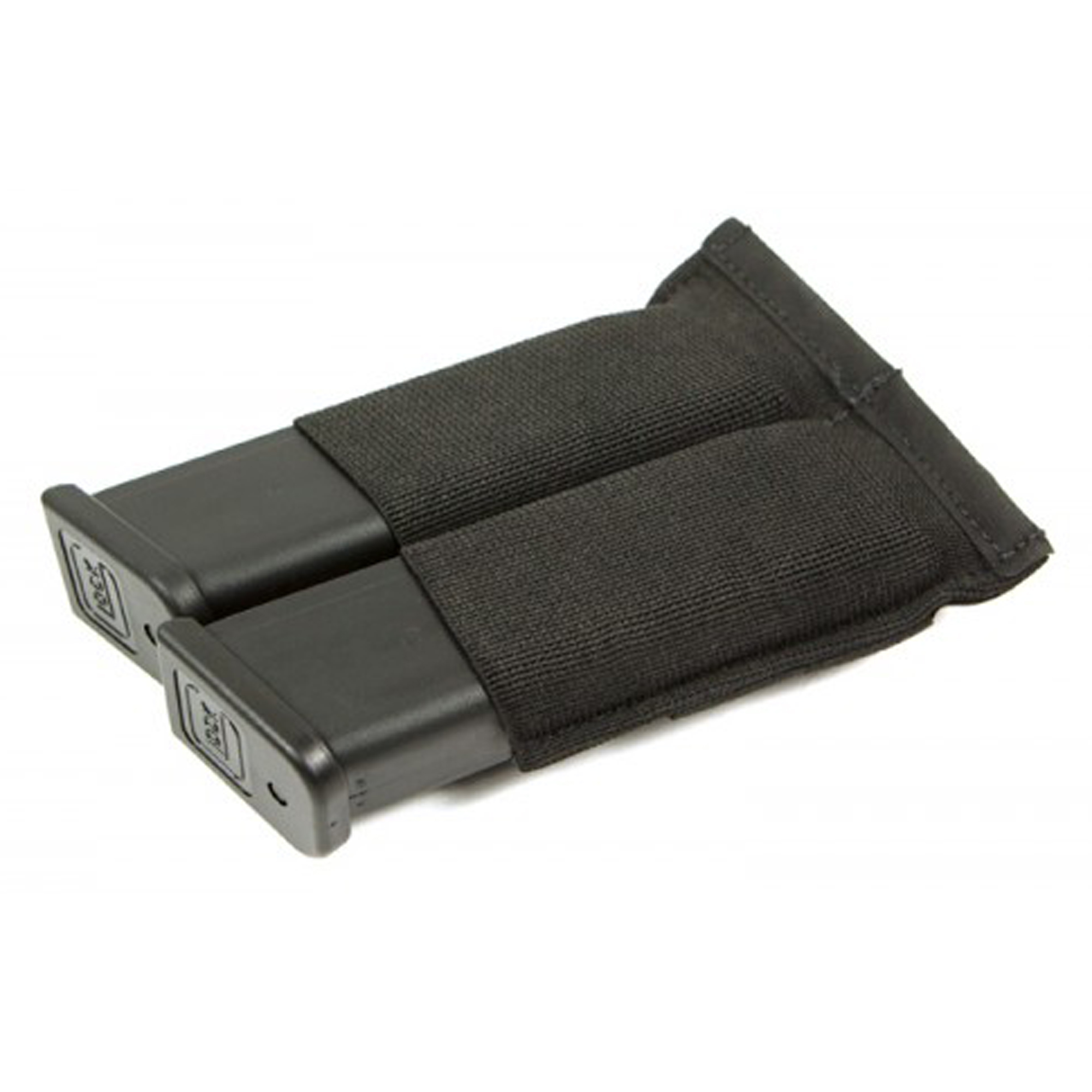 """The Ten-Speed Double Pistol Mag Pouch holds two single or double stack magazine and is the perfect blend of speed and security. Ten-Speed(R) pouches use military grade elastic combined with ULTRAcomp to create a multiuse pouch that is weighs almost nothing and lays flat when not in use. The Double Pistol Mag Pouch holds two single or double stack pistol magazine up to an HK 45"""" multi-tool"""" light"""" knives"""" small OC spray"""" or other similar sized items."""
