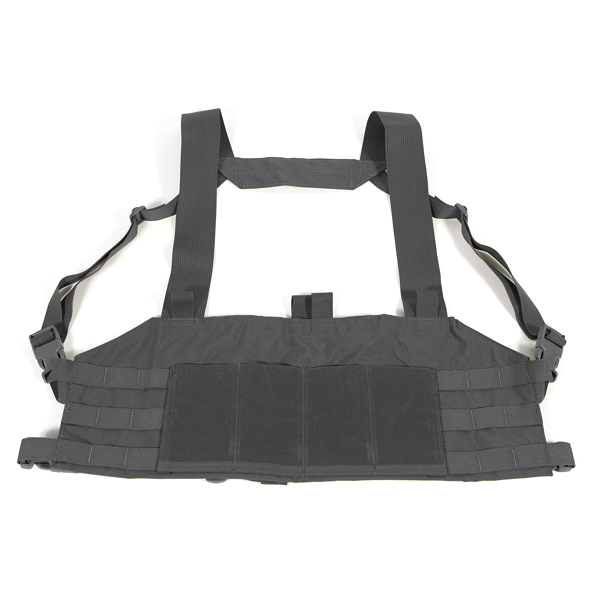 """The Ten-Speed M4 Chest Rig is designed as an ultralight fighting load - holding 4 M4 or similar sized magazines with 3 x 3 MOLLE fields on either side for mounting Trauma Kit NOW!"""" pistol mag pouches"""" utility pouches"""" or any other MOLLE compatible pouches."""