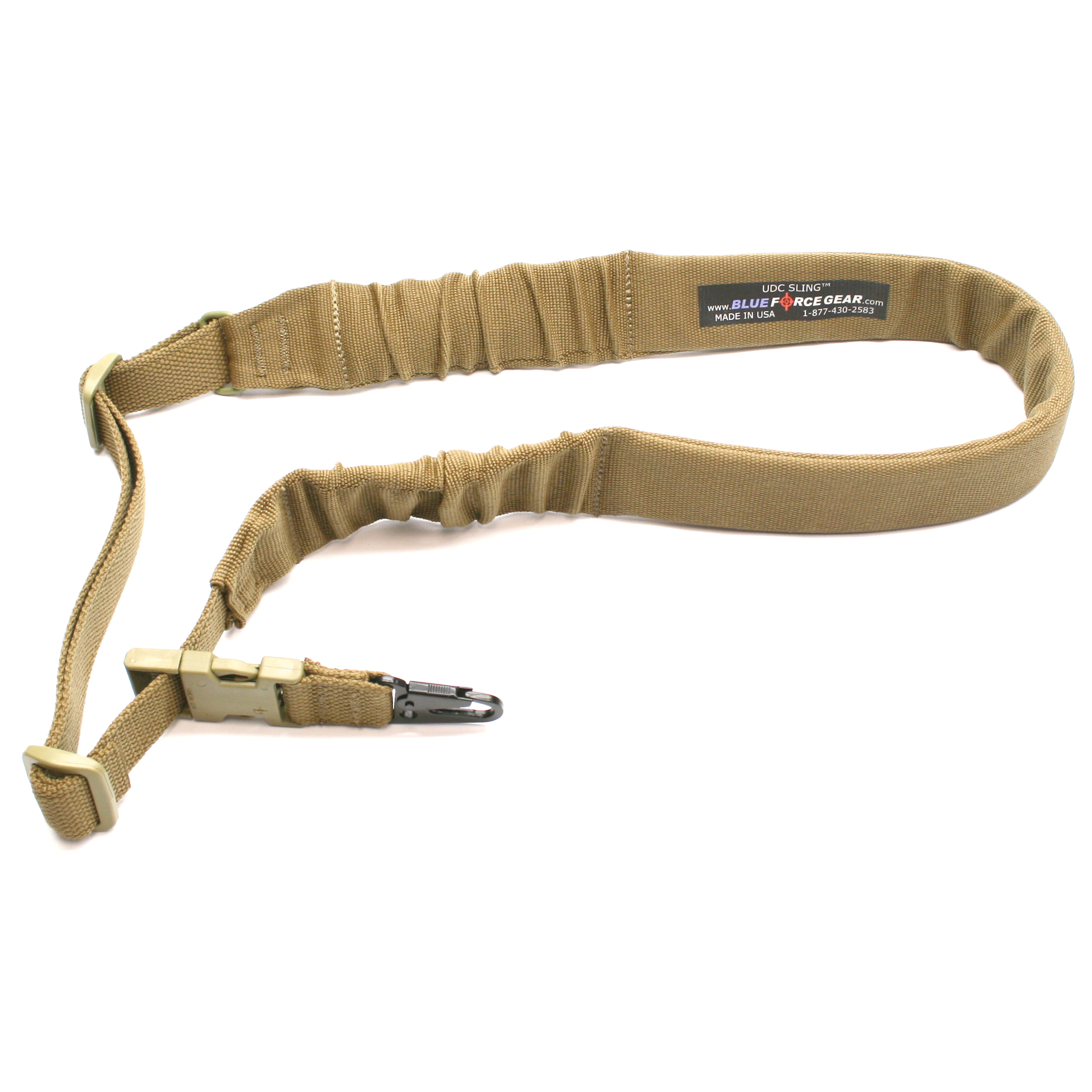 """The UDC Padded Single Point Bungee Sling is a dedicated single point sling that is both fast and comfortable. The UDC Sling has 2"""" inline padding"""" similar to the Padded Vickers Slings for extra comfort that ends in two sections of bungee. The bungee has a travel of approximately 2"""" - enough to absorb shock from movement or transitions but short enough to reduce the risk of facial injuries or sagging weapons. The overall length is adjustable"""" ambidextrous"""" and compatible with use over body armor. Along with an overall adjustment range (or circumference as worn) of 35"""" to 55."""""""