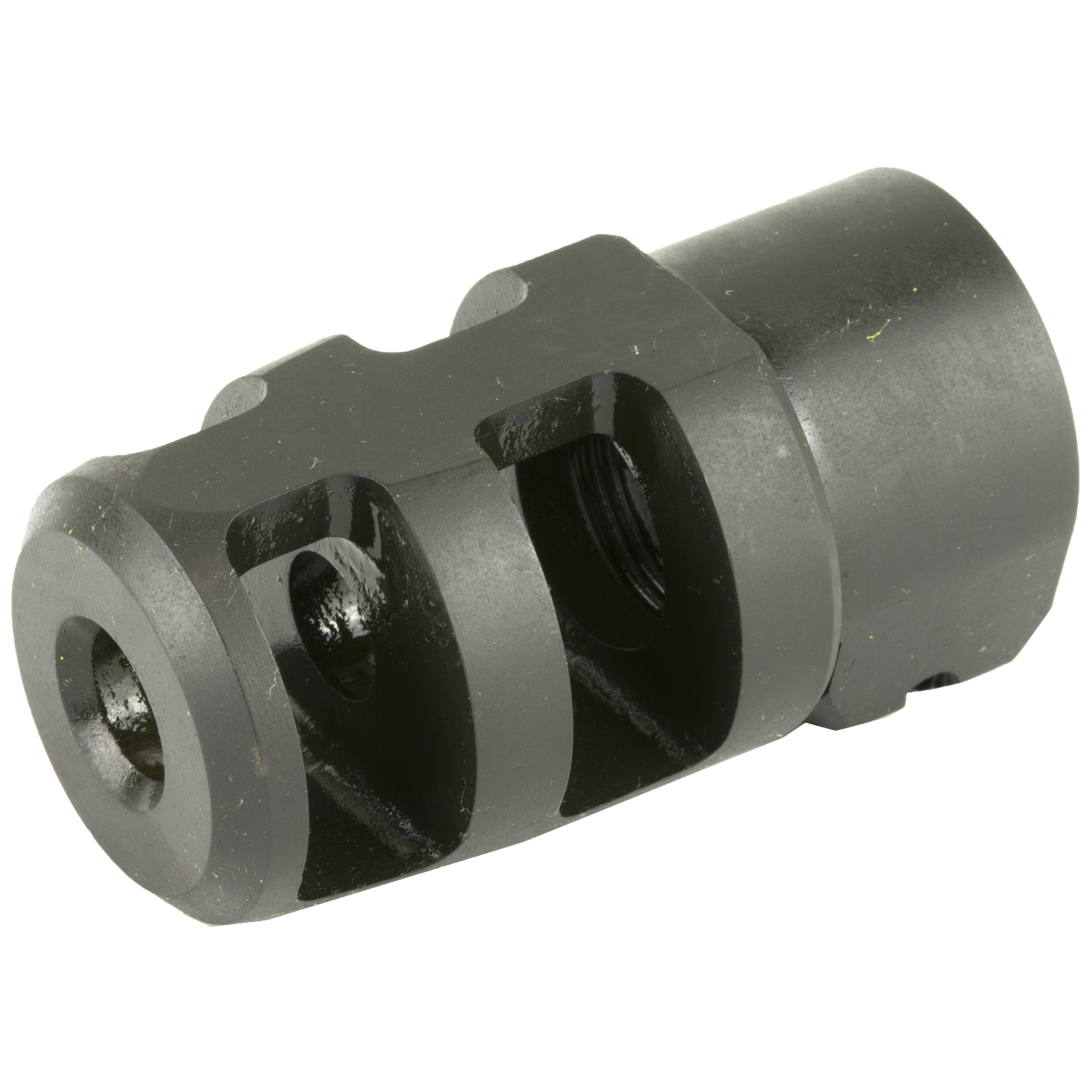 "The Badger Ordnance Mini FTE Muzzle Brake is a smaller version of our FTE brake and designed with both the AR-10/15 platform and medium caliber precision bolt action shooter in mind. While a much smaller design"" it still maintains enough surface area to make it a very effective brake. It is easily removed for cleaning or the installation of a suppressor. Ports are oriented to the sides to reduce ground blast. It is Machined from 4140 steel and Manganese Phosphate finished."