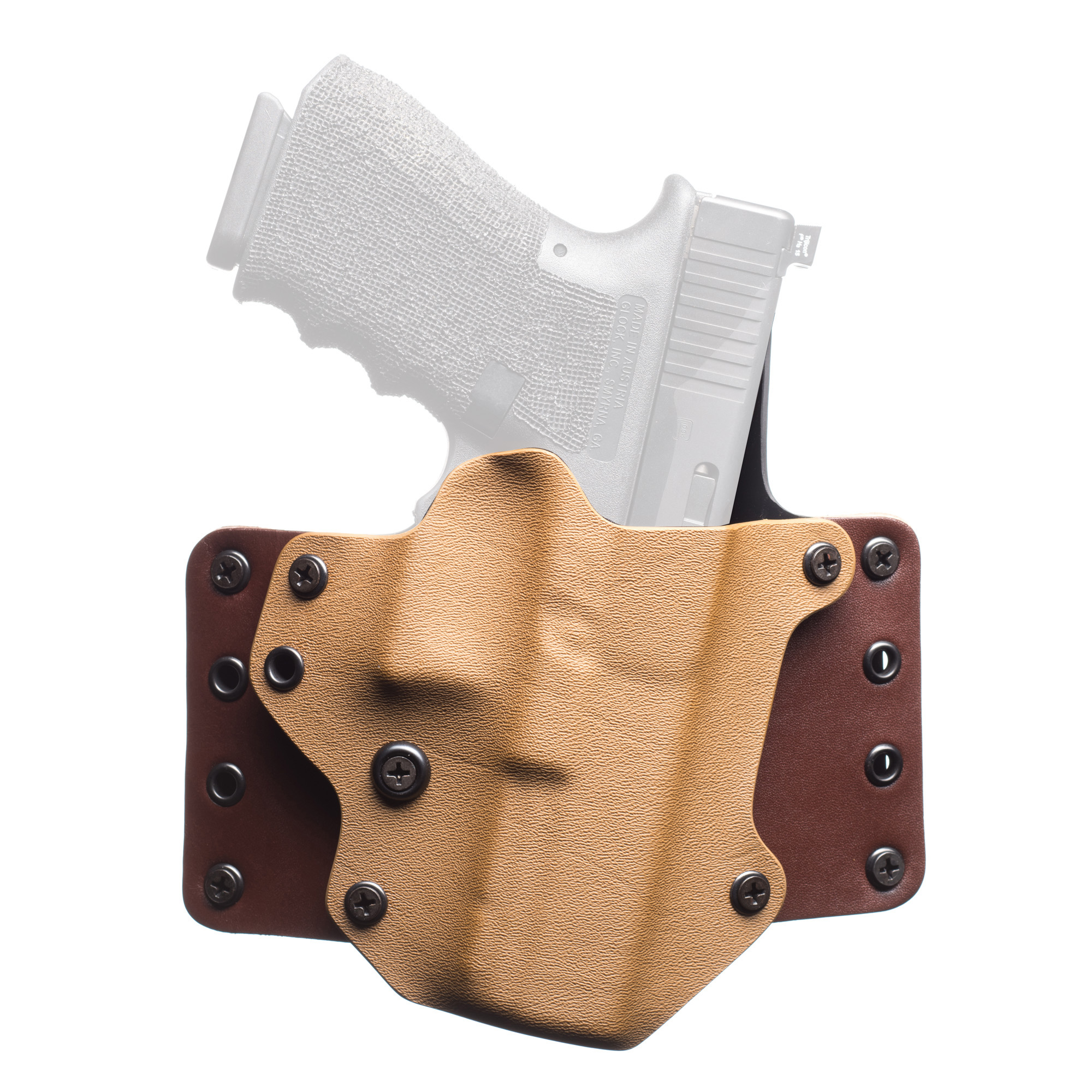 "The Leather WING(TM) holster by BlackPoint Tactical is a naturally evolved version of the original KYDEX(R) holster. The Leather WING(TM) is designed to retain the most popular features of a KYDEX(R) holster"" while improving the fit of the holster to the body through the addition of leather ""wings"". These wings allow the holster to wrap and fit the contours of the waist. The seamless integration of leather and KYDEX(R) allows for the retention and function of a traditional KYDEX(R) holster"" while providing the comfort of a traditional leather holster. The Leather WING(TM) allows the holster to naturally curve with the body"" giving a much slimmer and more comfortable fit. This configuration allows for ultimate comfort"" reliability"" and concealment."