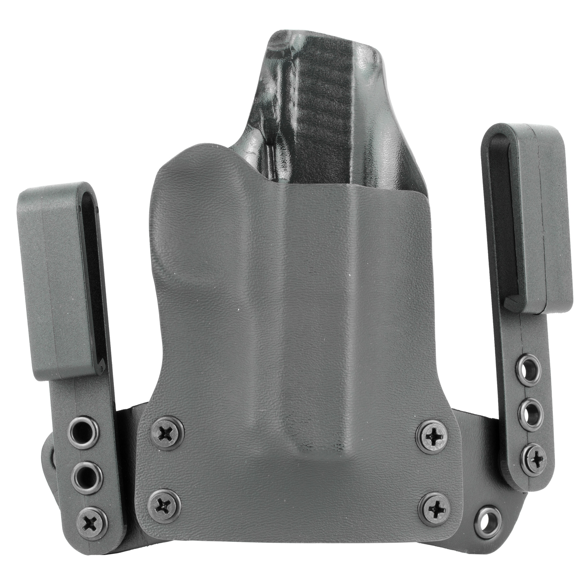 "The Mini WING(TM) by BlackPoint Tactical is designed to be a minimized IWB holster which allows the user to carry comfortably all day long without sacrificing performance or durability. The pairing of KYDEX(R) and leather on this holster provides the functional benefits of a KYDEX(R) holster while providing the flexibility and comfort of a leather holster. The KYDEX(R) reliably retains your pistol without a break in or wear out period and it prevents the holster from collapsing when your pistol is drawn for easy one handed holstering. The ""mini wings"" give the holster flexibility to move with your body"" making it comfortable for use all day"" every day. Additionally"" the ""mini wings"" were constructed to provide the user with a variety of different configurations for IWB carry with adjustments available to the cant and ride height of the holster."