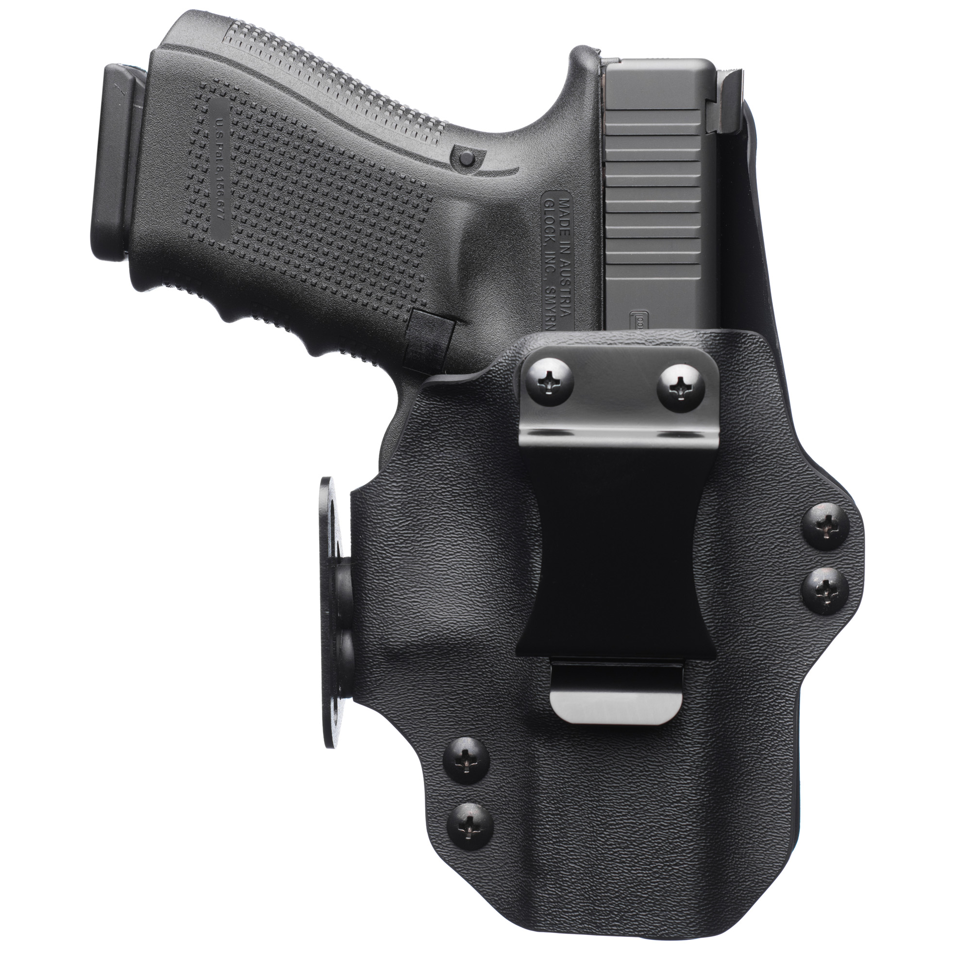 "The DualPoint(TM) is designed from the ground up to be the ultimate appendix holster. The overall footprint of the holster is minimized through the use of innovative molding techniques and design characteristics which provide a feature set unmatched by any other appendix holster on the market today. The one-piece design"" folded from the trigger guard side"" allows the incorporation of a side mounted strut loop that aids in concealment by pushing the grip of the firearm towards the body. This significantly reduces how much the gun prints. Featuring user adjustable retention as well as fully adjustable ride height and cant"" you can customize the fit of the holster to find the perfect spot that is most comfortable for daily wear. A user attachable mag pouch called the Plus Pouch is also available for purchase and can be added onto the holster at any time. The DualPoint(TM) can also be converted to a minimal OWB carry platform"" maximizing the value to the end user. All needed hardware to make this conversion is included in every box."