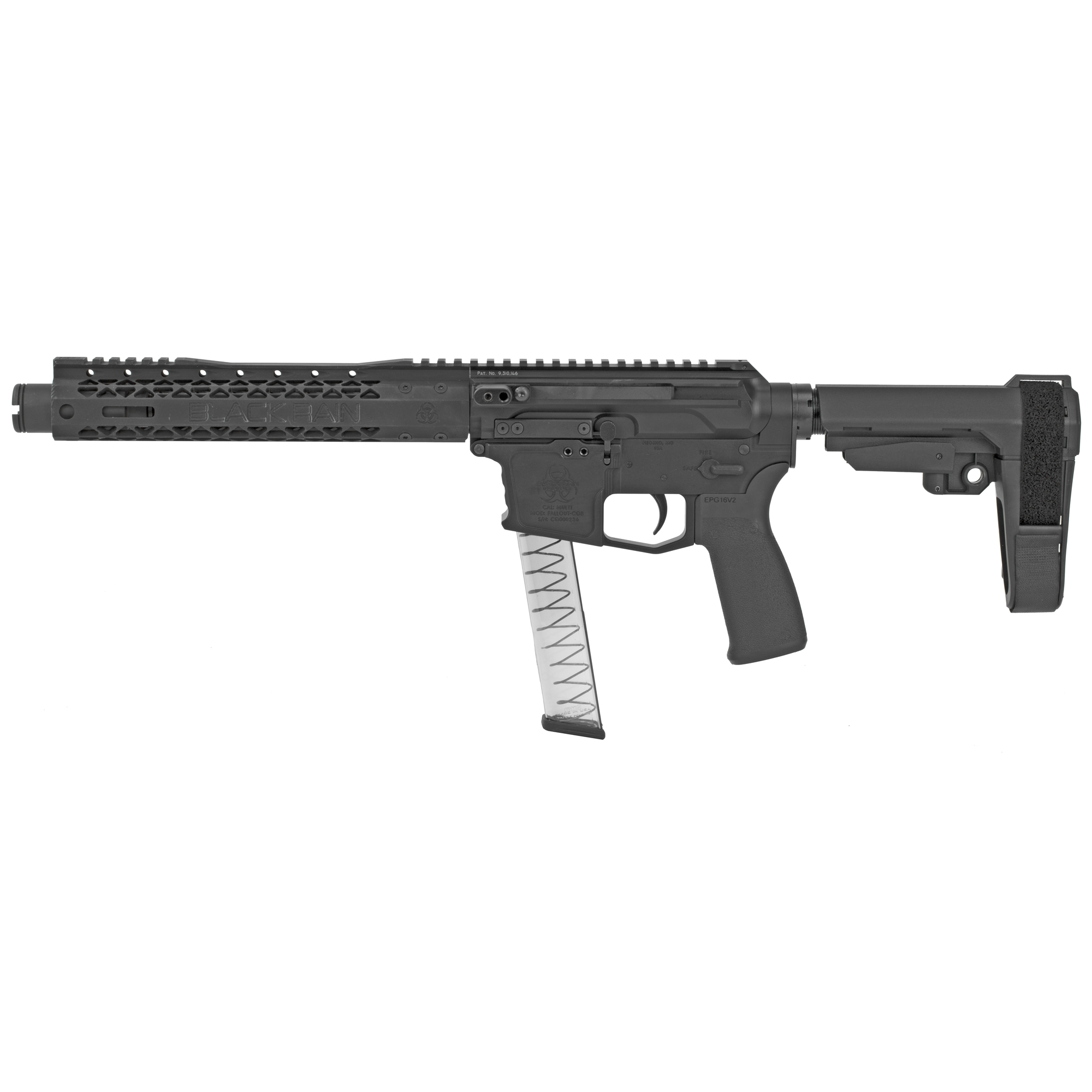 "Meet the all new Ion 9 from Black Rain Ordnance. The Ion 9 is a pistol caliber carbine which is fed from Glock Style magazines and is operated on a complete billet platform"" utilizing a patented side charging"" non-reciprocating upper"" that is mated to a dedicated billet lower featuring a flared magazine well for quick loading and reloading. With various build options within the Ion 9 series"" you are sure to find the next sub compact pistol caliber firearm which best fits your needs as a gun enthusiast."