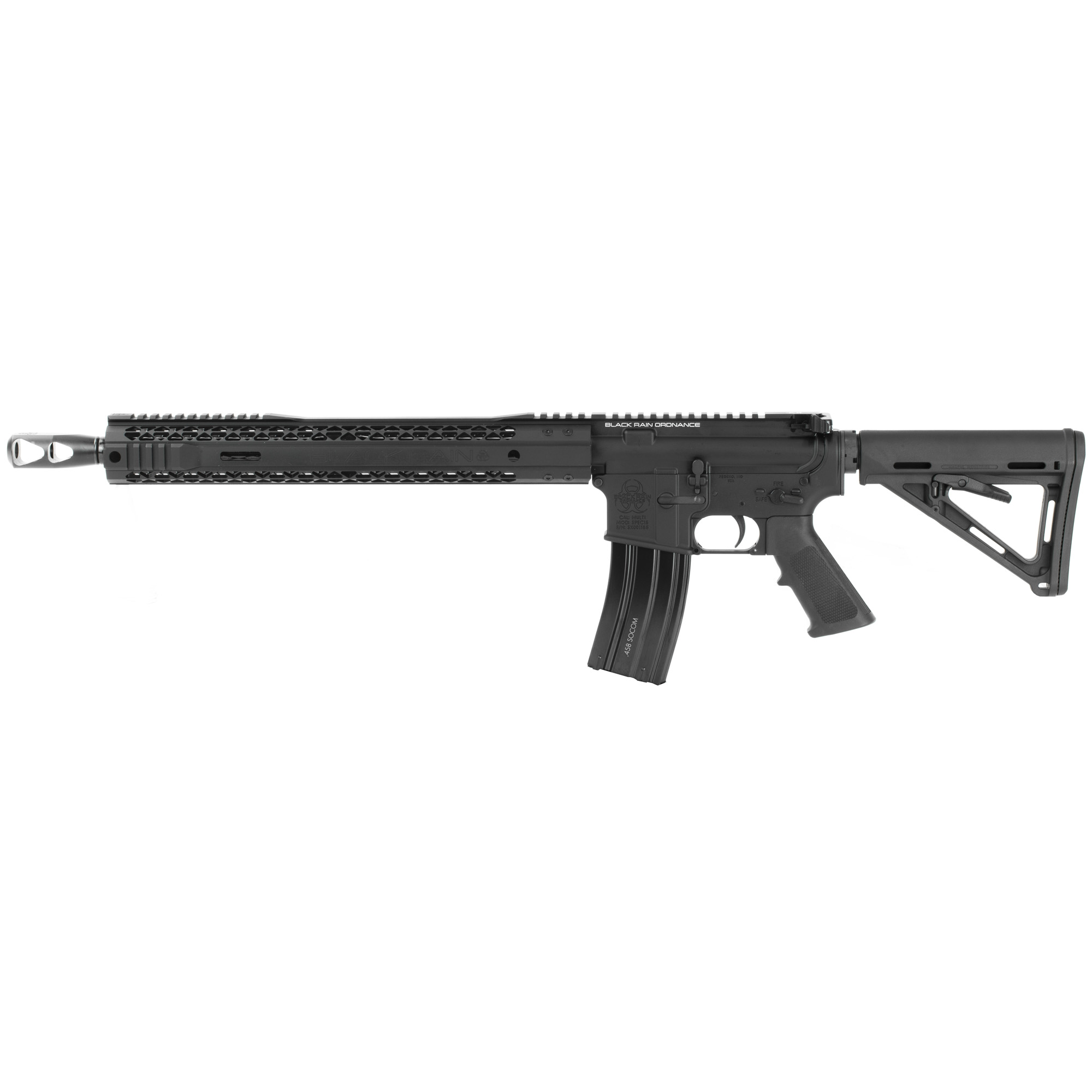 The Black Rain Ordnance Spec15 series is a line of AR15 rifles and pistols built to meet bid requirements for law enforcement and military personnel and as an affordable option for civilian use. Ships with one .458 SOCOM optimized magazine. (10 Round Capacity)