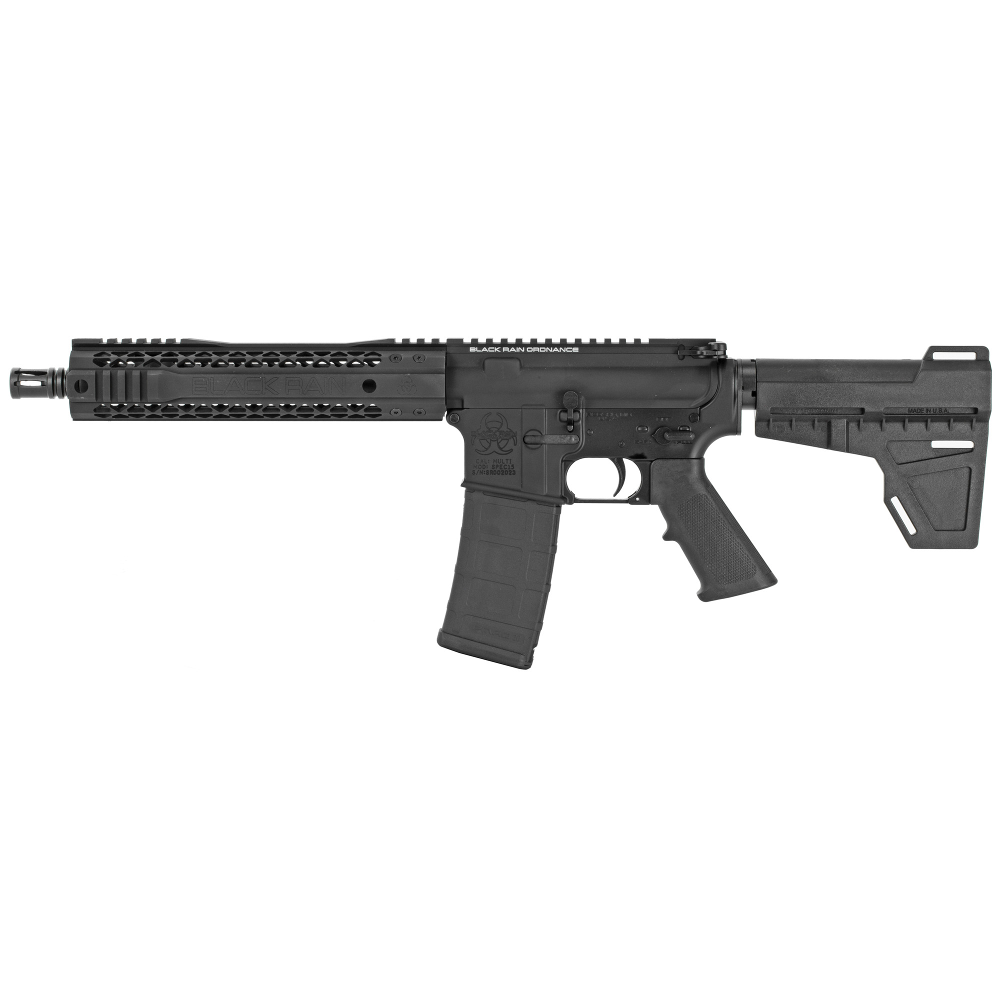 The Black Rain Ordnance Spec series is a line of AR15 pistols built to meet bid requirements for law enforcement and military personnel and as an affordable option for civilian use.