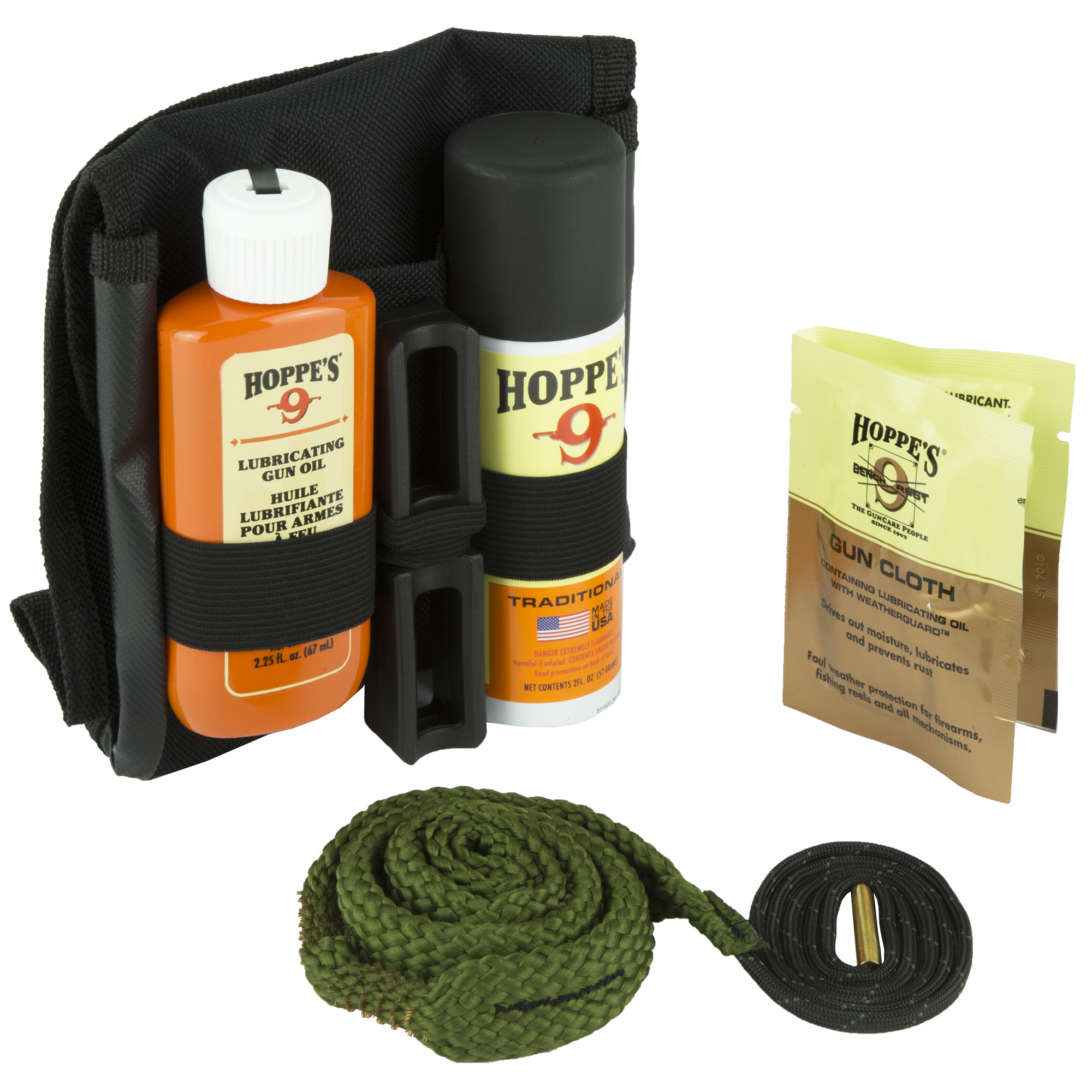 "Take this complete"" super compact BoreSnake Gun Cleaning Kit anywhere. The rugged"" soft-sided case attaches easily to a belt and fits compactly into a box or bag."