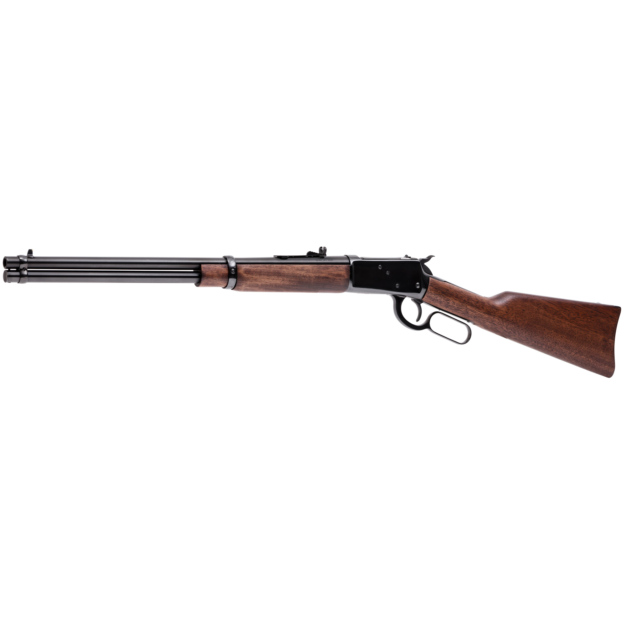 """The Rossi M92 Round Barrel delivers shorter"""" lighter versions of their big brothers with 16"""" or 20"""" carbine models. The Round Barrel comes in two finish options - Blue or Stainless. Round Barrel models feature crescent butt plates and an extended front sight."""