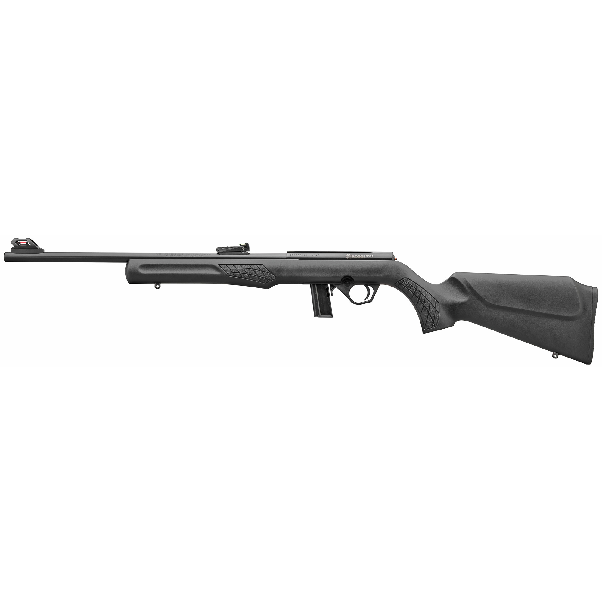 """The Rossi(R) RB22 is a reliable and accurate bolt action rimfire rifle. The textured synthetic Monte Carlo stock is perfectly mated to an 18"""" free-float barrel for outstanding balance and feel. Offered in .22 LR the RB22 features fully adjustable fiber optic sights"""" 10 round detachable magazine"""" and the receiver has a 3/8"""" dovetail to accept scope mounts."""