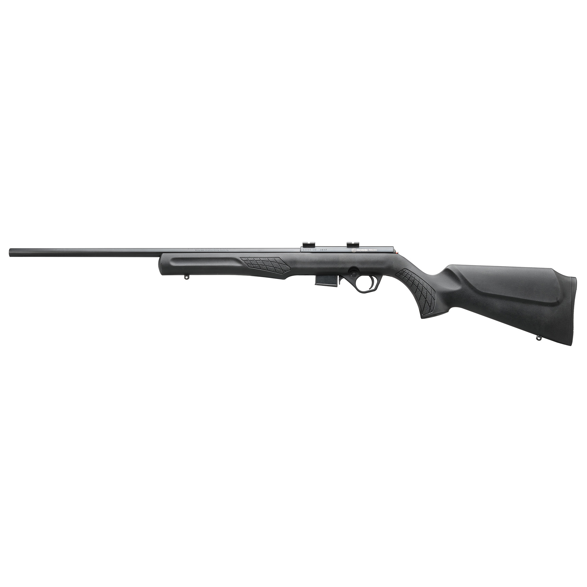 """The Rossi(R) RB22M is a reliable and accurate bolt action rimfire rifle. The textured synthetic Monte Carlo stock is perfectly mated to a 21"""" free-float barrel for outstanding balance and feel. Offered in .22 WMR the RB22M features Weaver(R) style scope mounts"""" and a 5 round detachable magazine."""