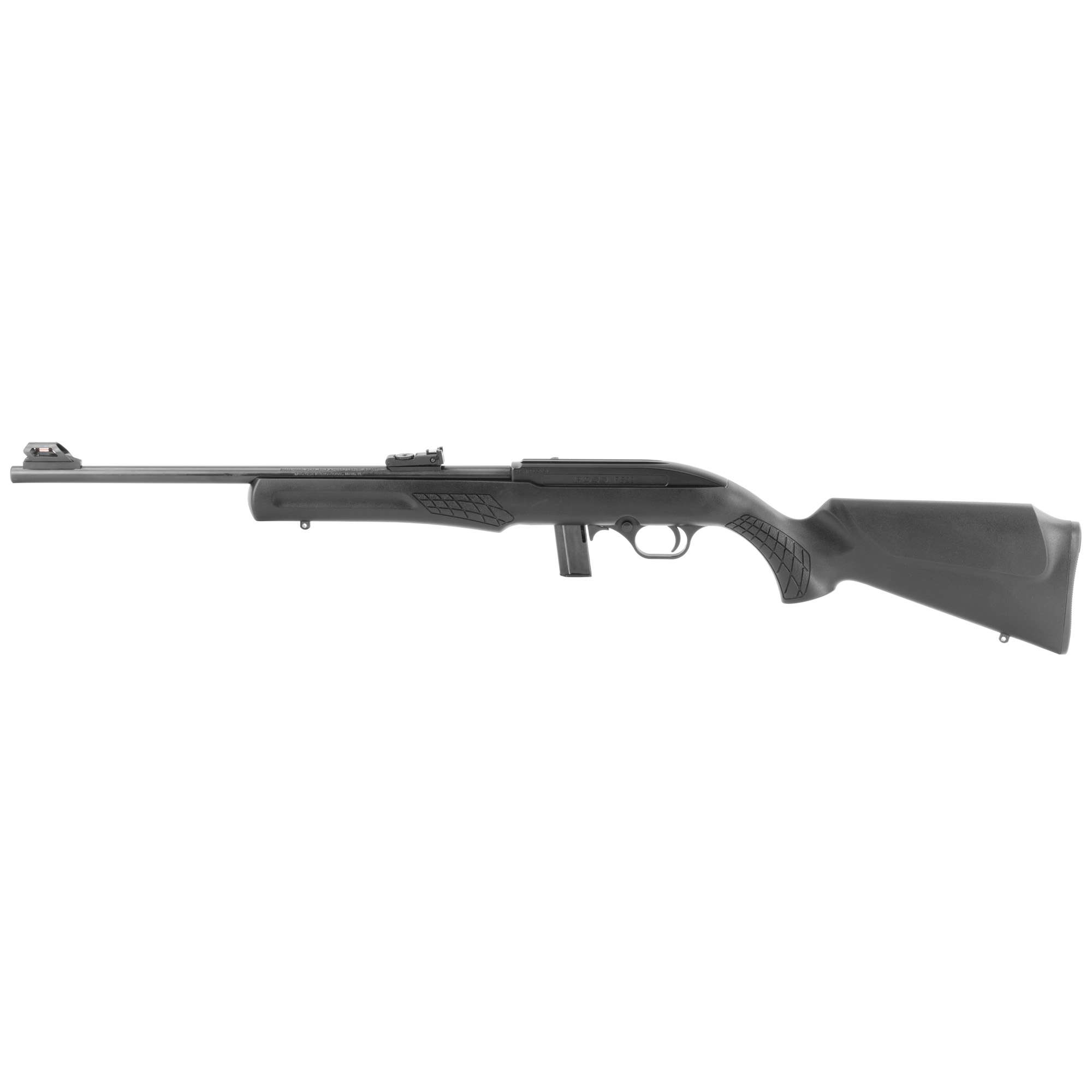 """The Rossi(R) RS22 is a reliable and accurate semi-automatic rimfire rifle with blowback action. The textured synthetic Monte Carlo stock is perfectly mated to an 18"""" free-float barrel for outstanding balance and feel. Offered in .22 LR the RS22 features fully adjustable fiber optic sights"""" 10 round detachable magazine"""" and the receiver has a 3/8"""" dovetail to accept scope mounts."""
