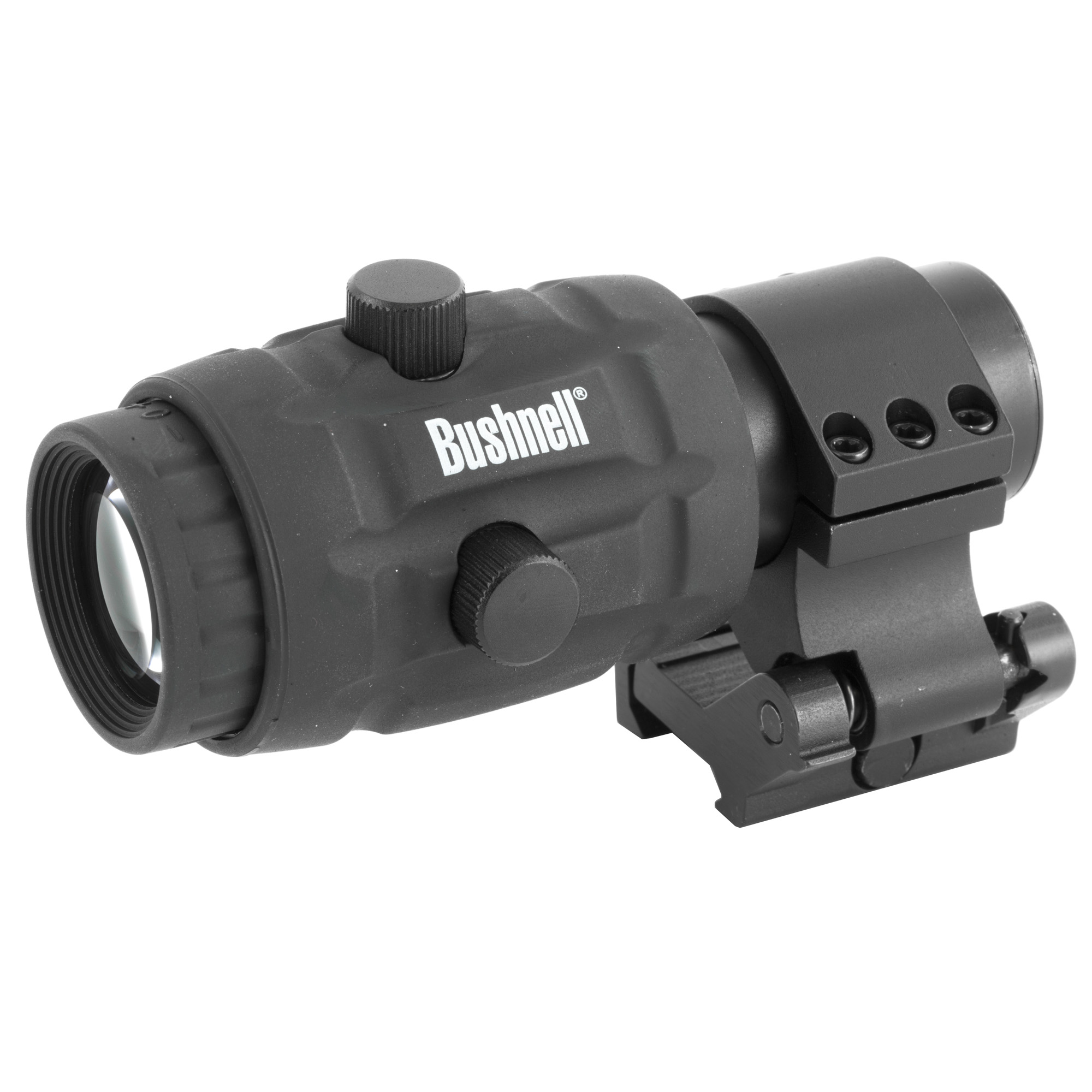 """The Bushnell AR Optics Transition 3x Magnifier offers instant red dot magnification when you want it and flips out of the way when you don't. It pairs perfectly with the Bushnell TRS-25 Red Dot but is compatible with any red dot optic. The included ambidextrous flip mount quickly attaches to your accessory rail"""" and fully multi-coated optics deliver crisp"""" bright images. Add some power to your favorite red dot with the Bushnell AR Optics Transition 3x Magnifier."""