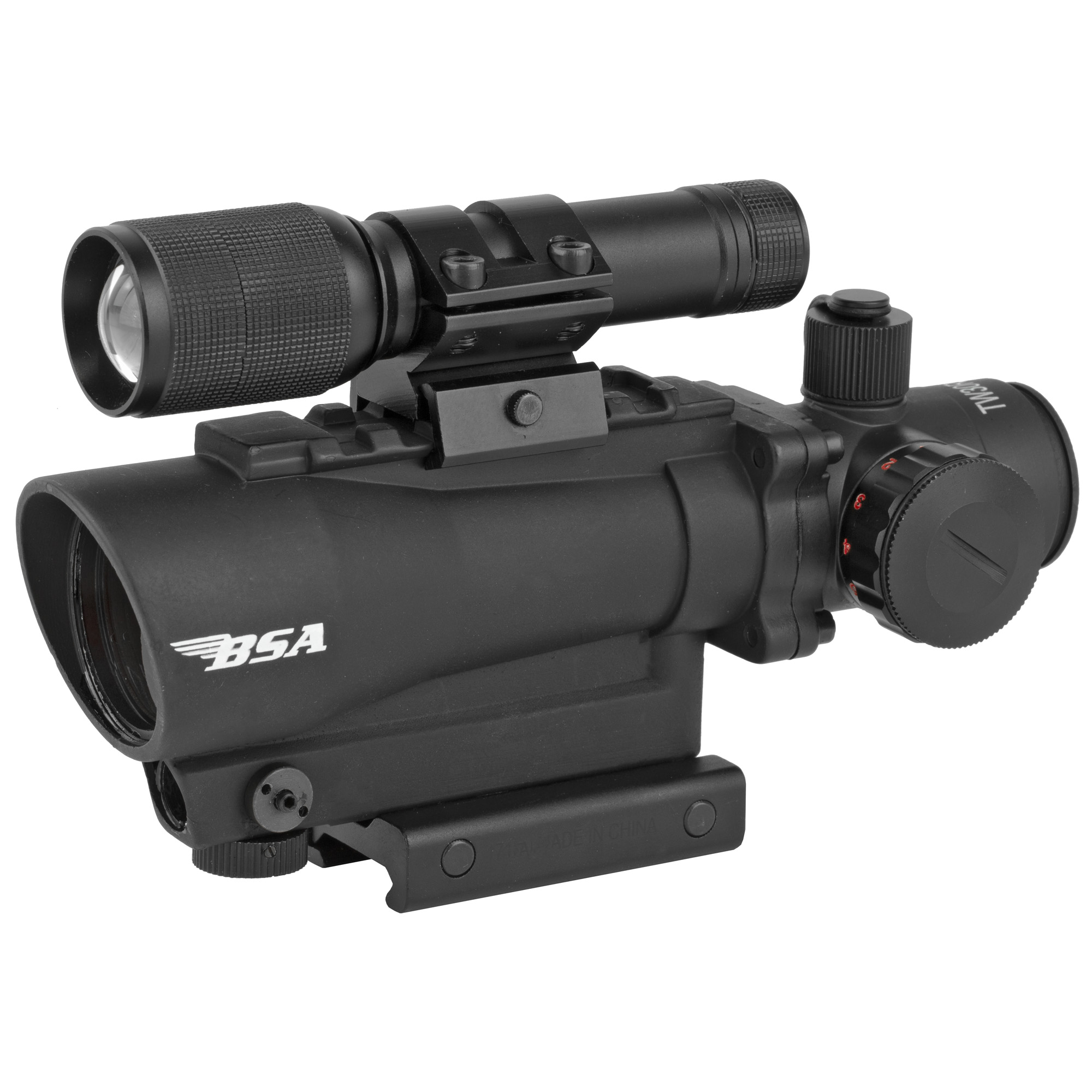 """The Tactical Weapon Series products are engineered specifically for use with tactical style firearms and designed to handle the most demanding tasks that one faces in tactical situations. For optimal accuracy"""" the TW30RDL red dot scope is equipped with an integrated 650 nm red laser sight"""" easy One-Piece mount and rubber eye guard. Model comes with attachable 140 Lumen LED flashlight."""