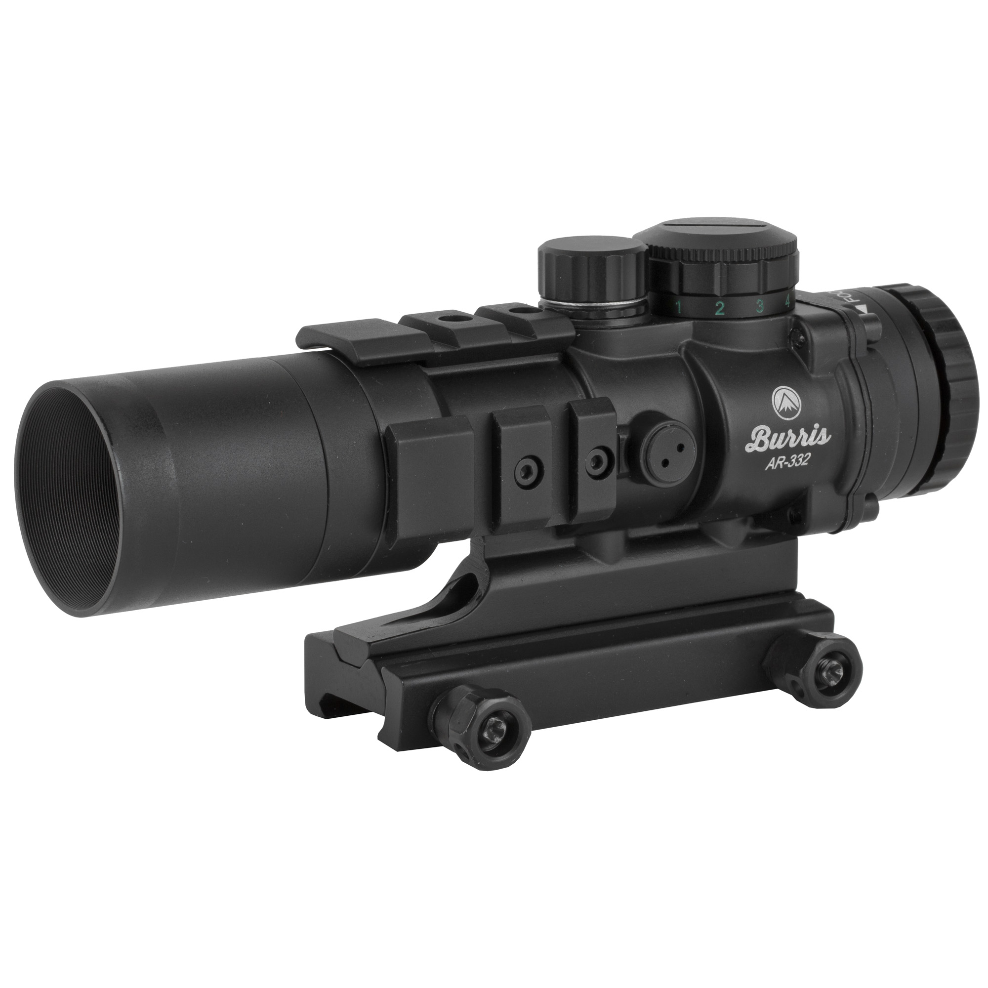 "The AR-332 is designed for lawmen"" military personnel"" and competitive shooters who want additional range from a compact"" fast-acquisition optic. The rotary"" 10-position power selector allows quick changes from red to green powered reticle"" or clear"" crisp black reticle when power is off. With five red and five green power levels"" all lighting conditions can be quickly matched. A CR2032 battery powers the reticle. The Ballistic CQ(TM) reticle features holdover dots good out to 600 yards. They work best with 5.56 or 7.62 ammunition. Picatinny rails allow piggybacking of additional sights"" lasers or lights. The entire"" rugged design is backed by the Burris Forever Warranty(TM). The perfect AR Scope for quick target acquisition"" coupled with a bit more range."