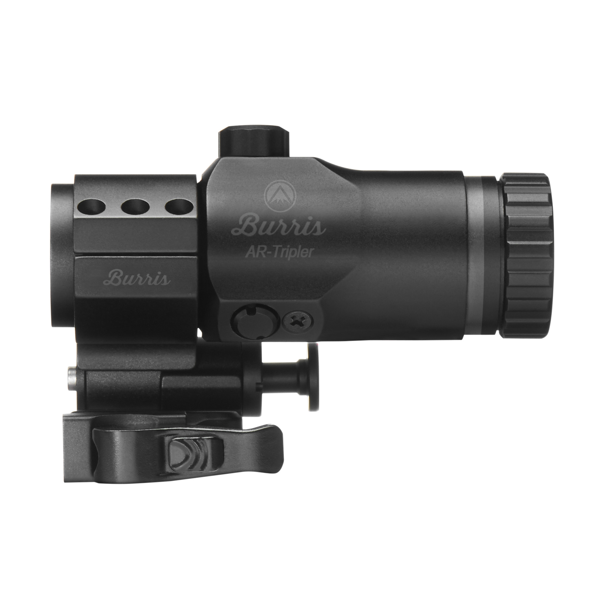 "Adds 3x magnification to any 1x non-magnified optic. When you want to be able to transition to mid-distance - and back again - without swapping weapons or optics"" the AR-Tripler is your solution. Mounted in the optional AR-QD pivot ring"" it rides in tandem behind your CQB optic but pivots off with the push of a button. The windage and elevation adjustments allow you to use the complete reticle image of partner optics."