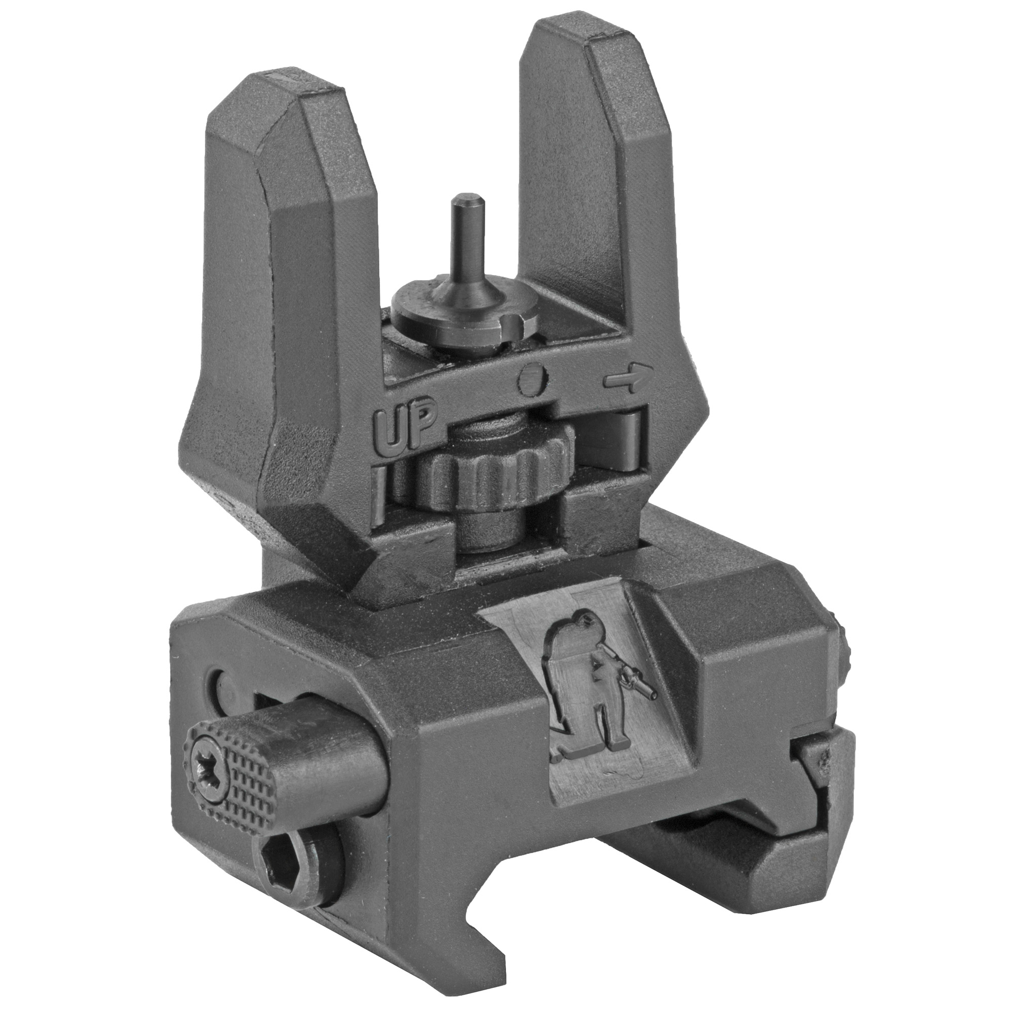 Command Arms Accessories FFS Folding Up Front Sight fits Picatinny Rail. Super low profile front sight features a toolless adjustable center post for elevation surrounded by two guide posts to assist in focusing.